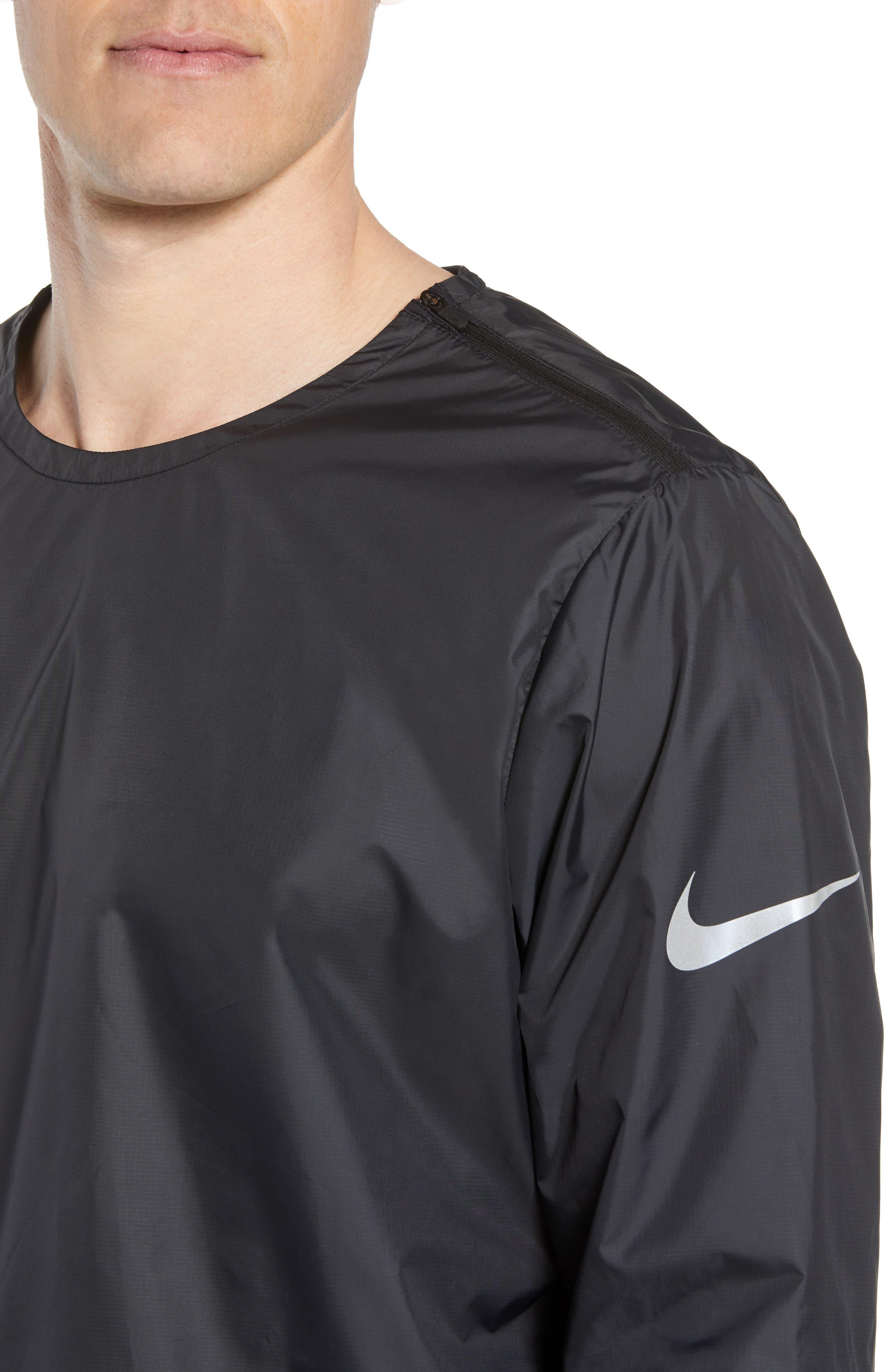 Long Sleeve Crinkle Crew Running Shirt,                             Alternate thumbnail 4, color,                             BLACK