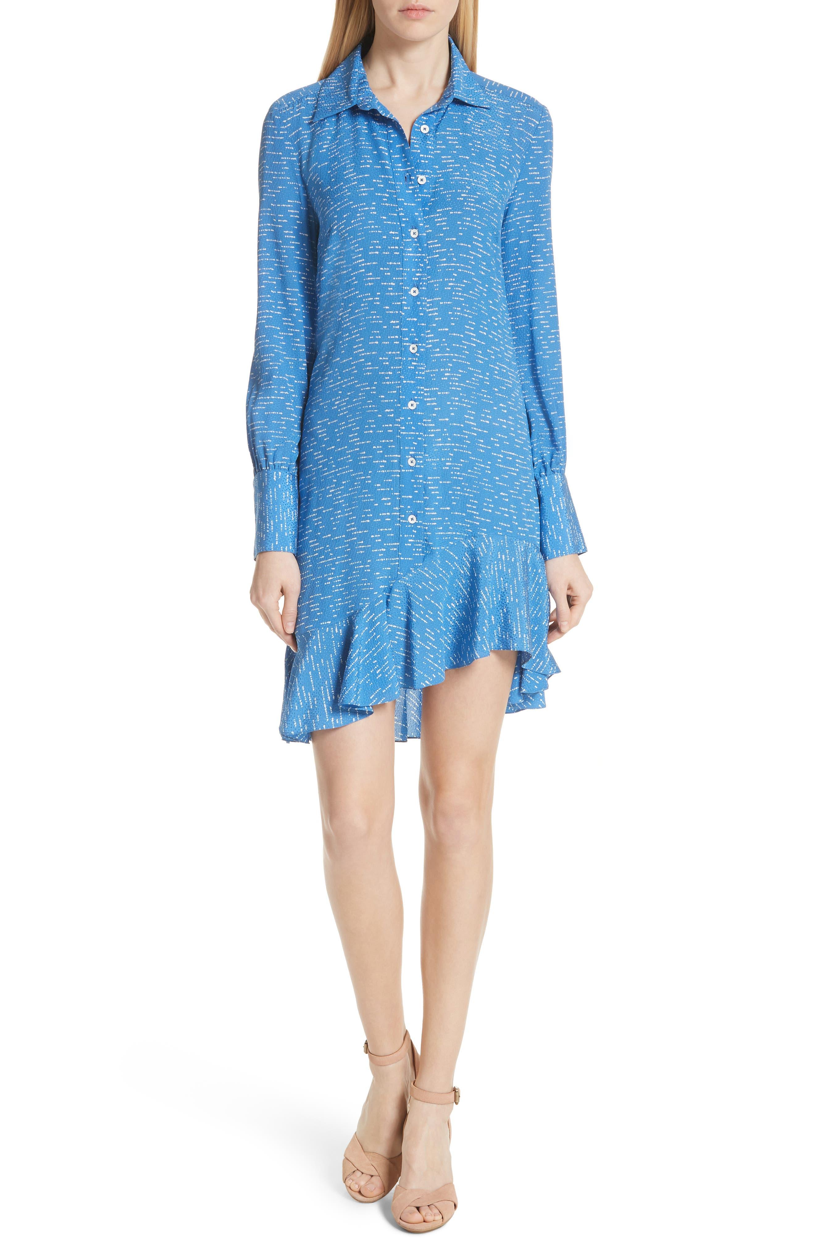 Silk Shirtdress with Asymmetric Hem,                         Main,                         color, BALTIC