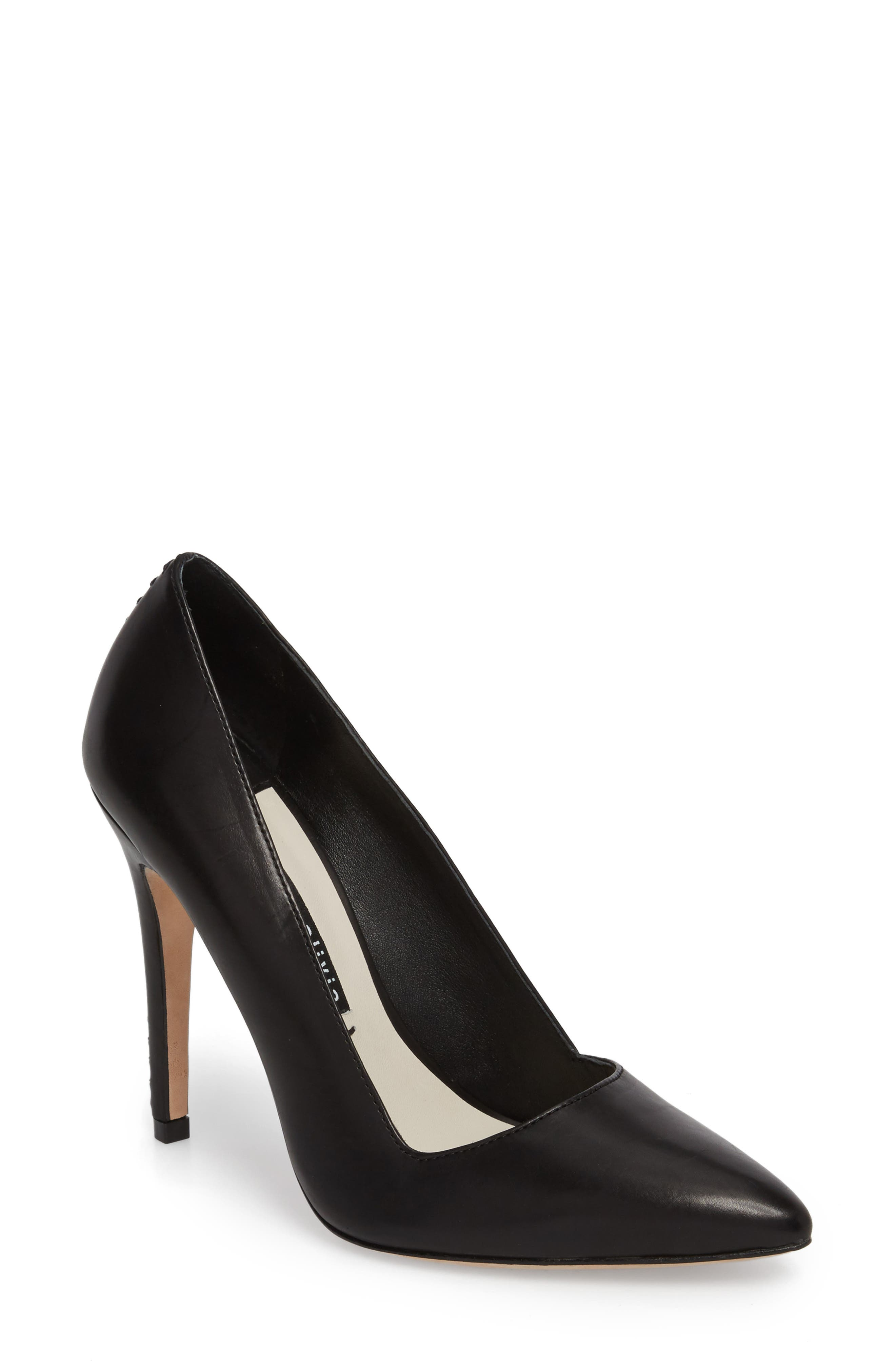 Dina 95 Whipstitch Pointy Toe Pump,                             Main thumbnail 1, color,                             BLACK