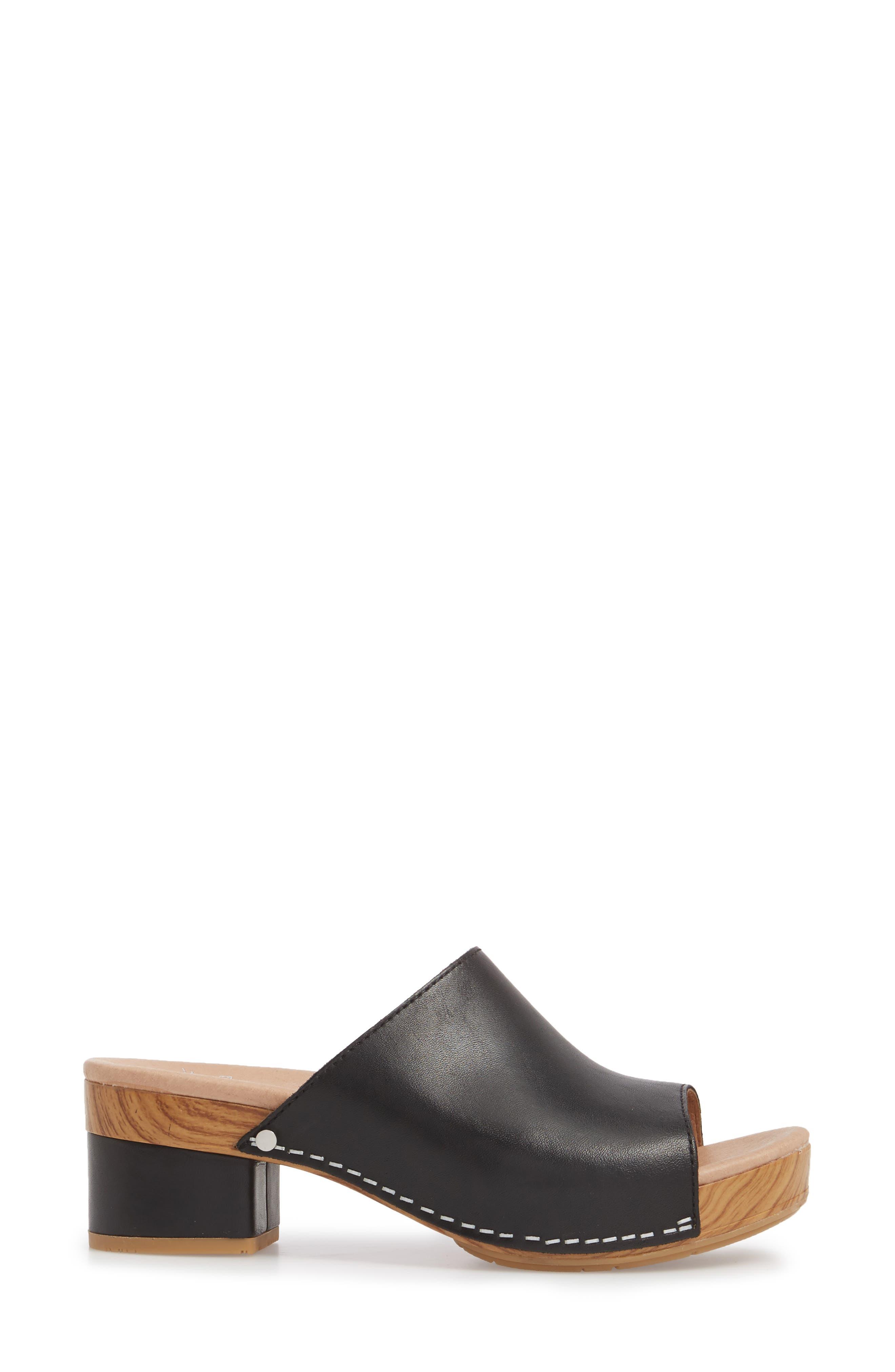 Maci Mule Sandal,                             Alternate thumbnail 3, color,                             BLACK LEATHER