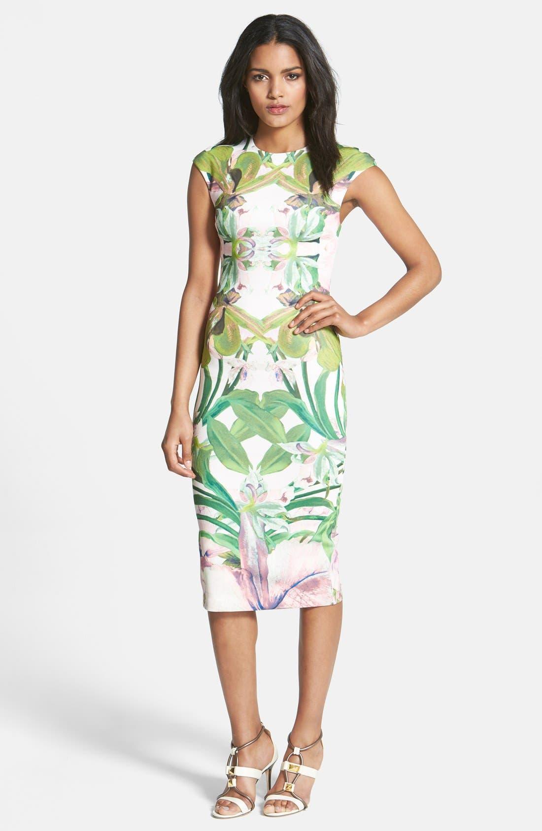 'Jungle Orchid' Print Dress,                             Main thumbnail 1, color,                             104