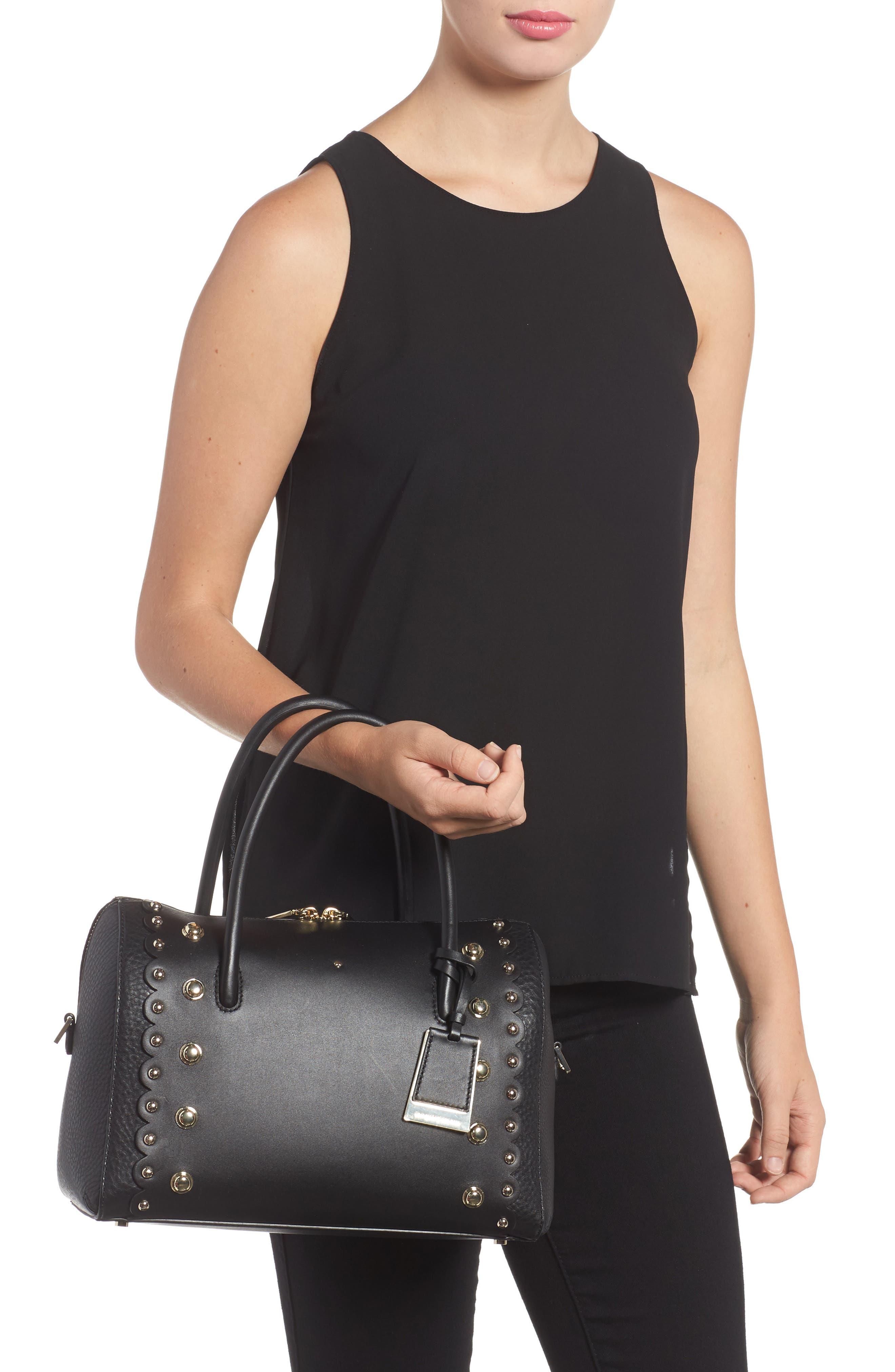 madison stewart studded mega lane leather satchel,                             Alternate thumbnail 2, color,                             001