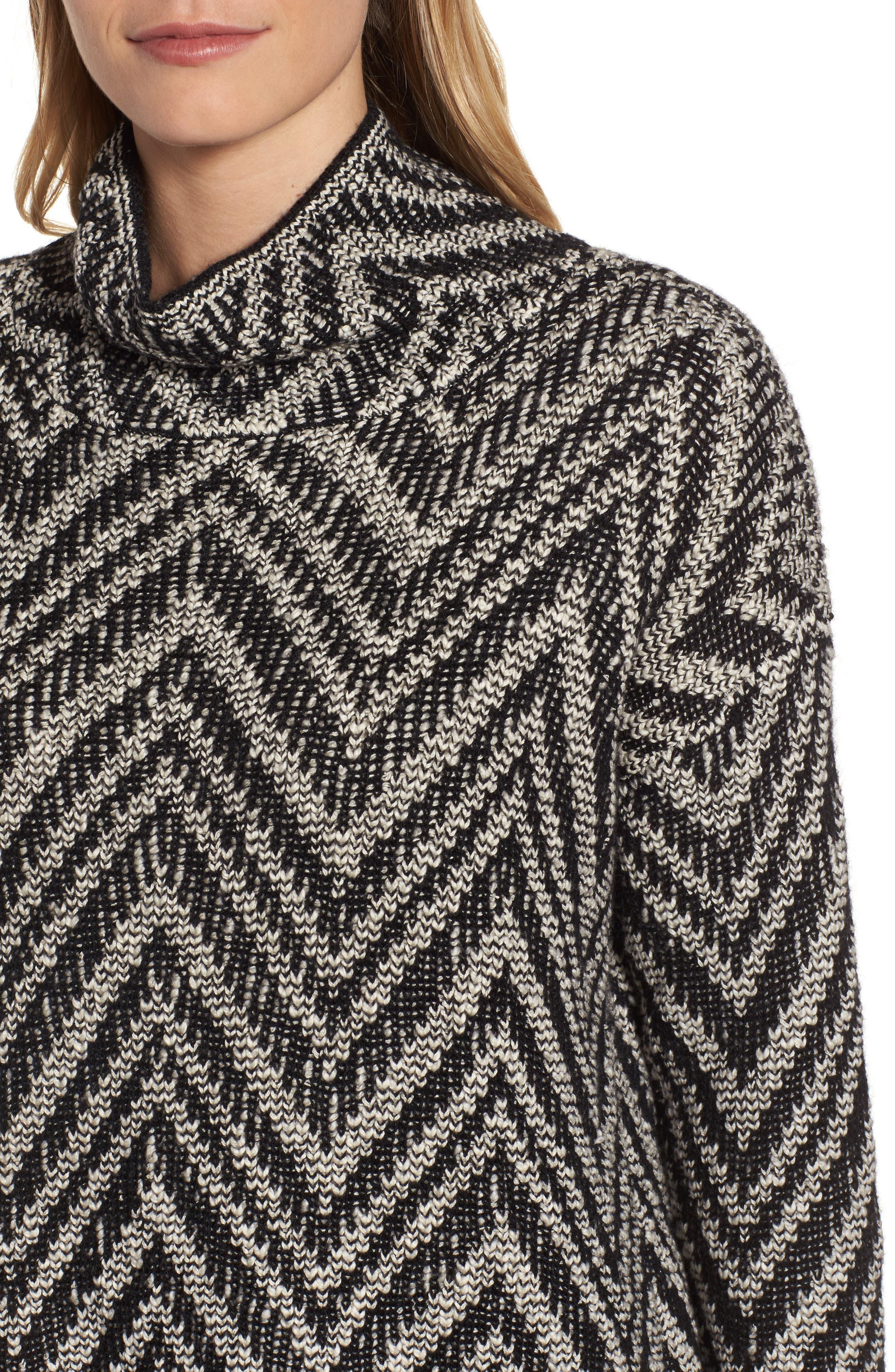Zigzag Organic Cotton & Alpaca Tunic Sweater,                             Alternate thumbnail 4, color,                             112