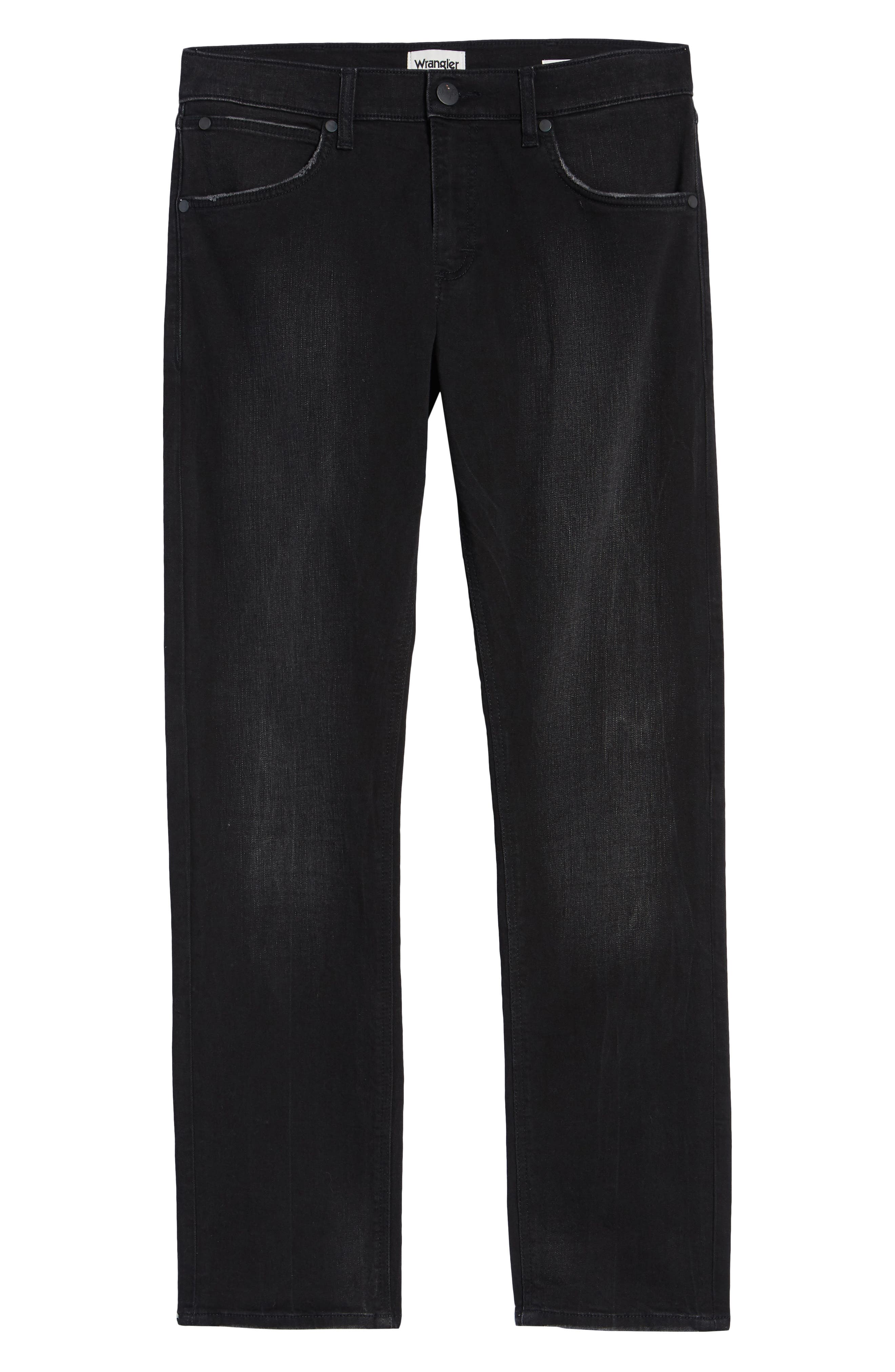 Greensboro Straight Leg Jeans,                             Alternate thumbnail 6, color,                             BLACK