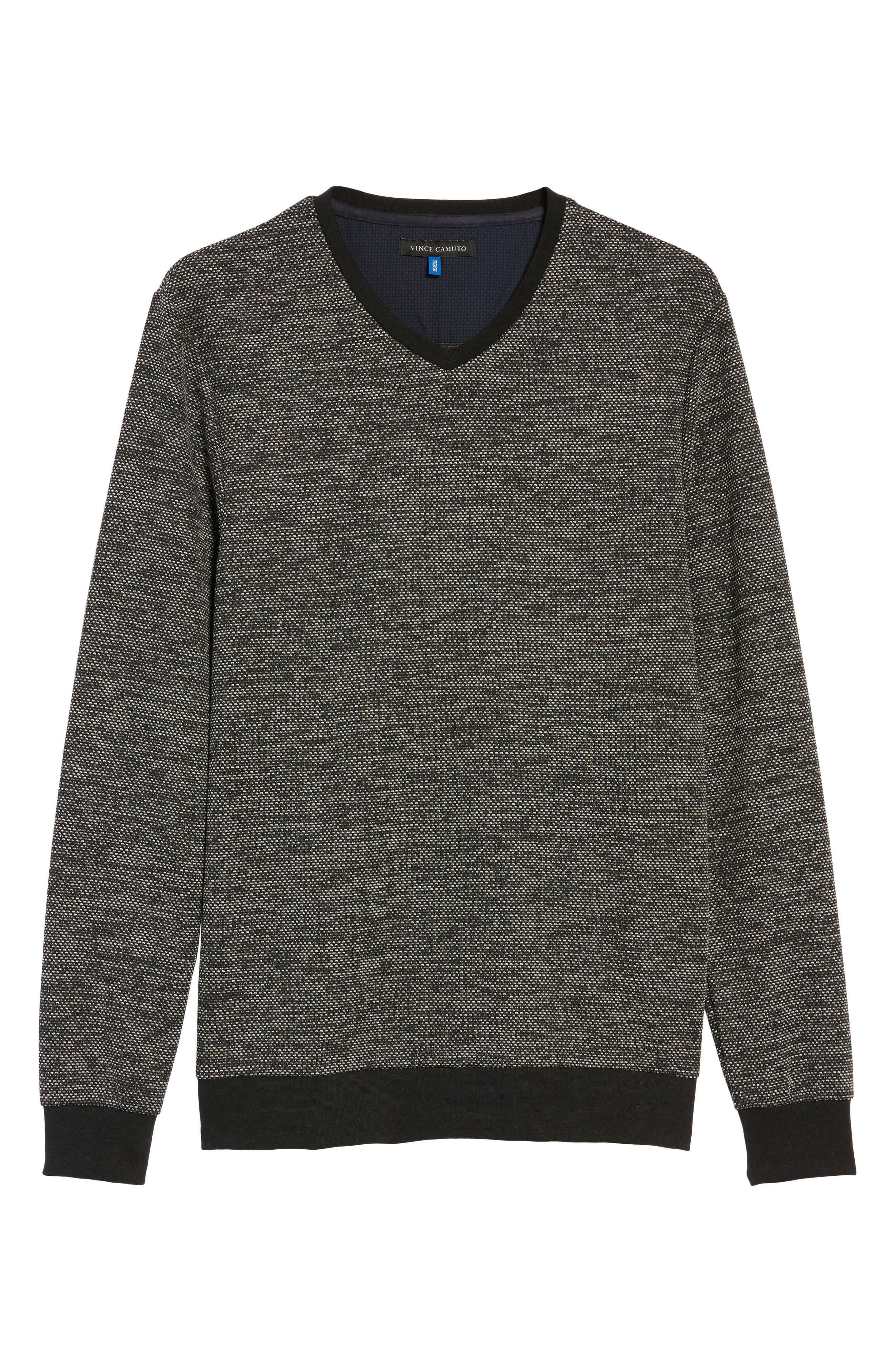 Trim Fit Mélange Pullover,                             Alternate thumbnail 6, color,                             BLACK/WHITE