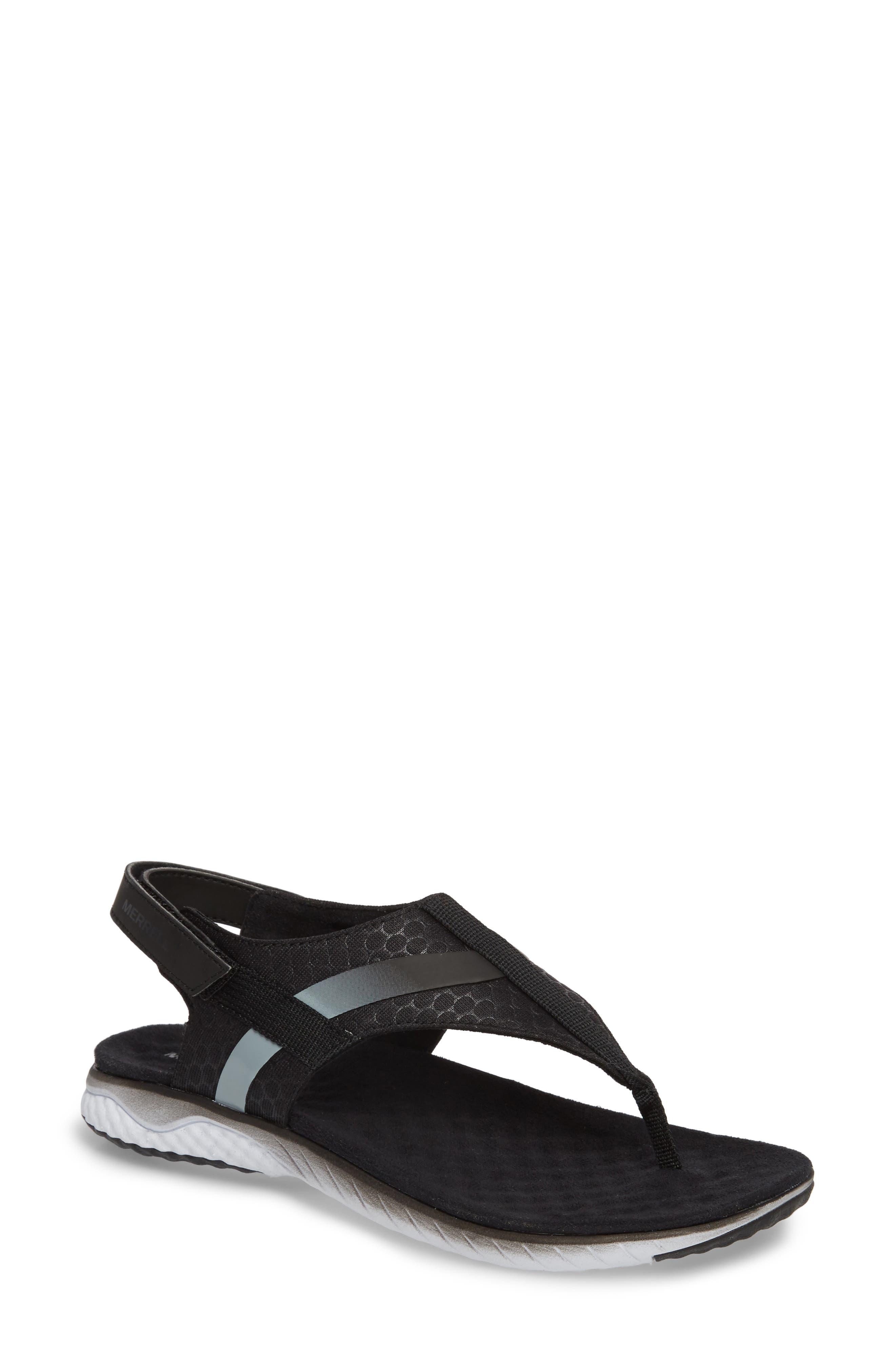 1SIX8 Linna Slide Air Cushion+ Sandal,                             Main thumbnail 1, color,                             001