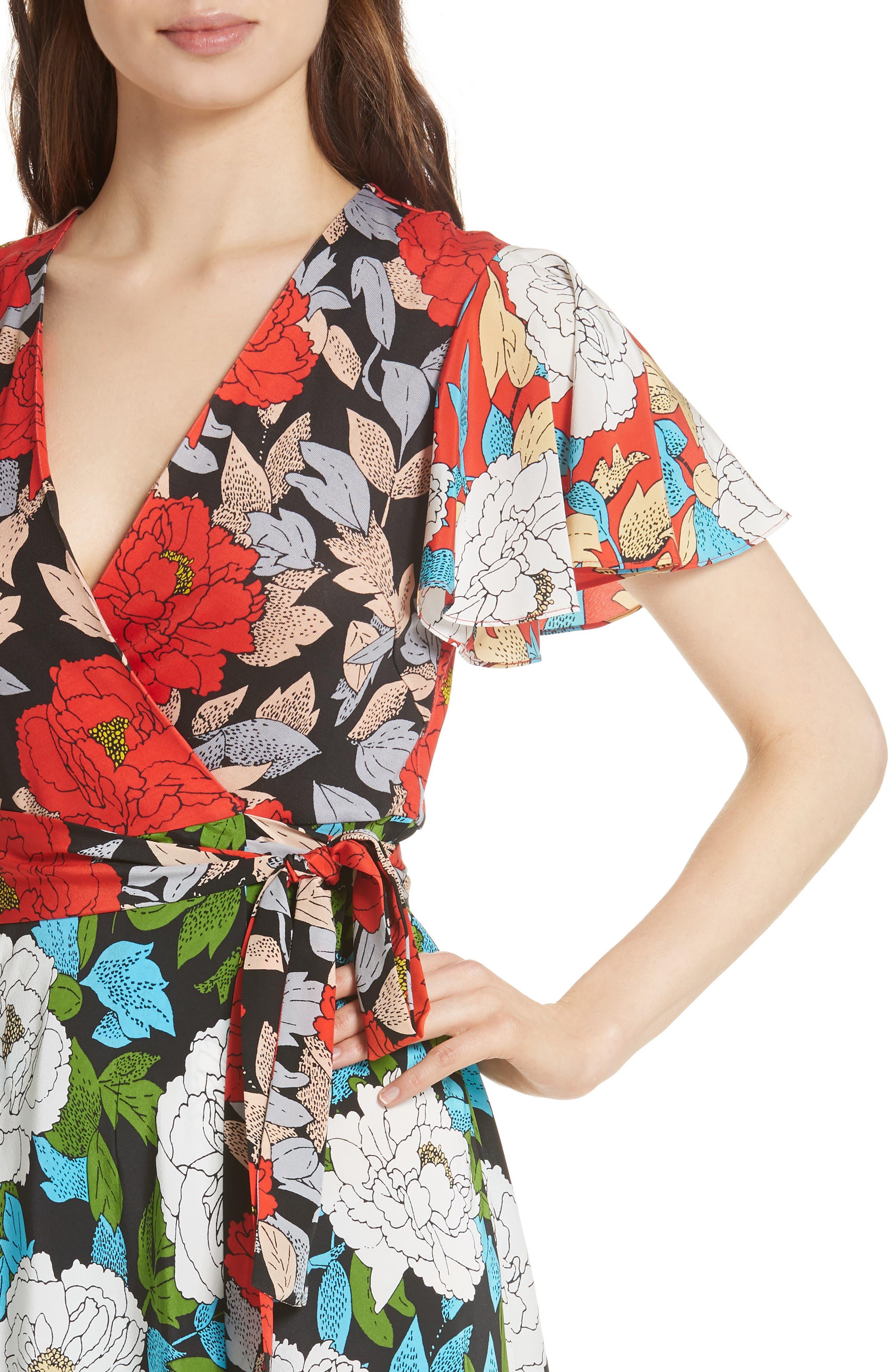 Diane von Furstenberg Flutter Sleeve Silk Wrap Dress,                             Alternate thumbnail 14, color,