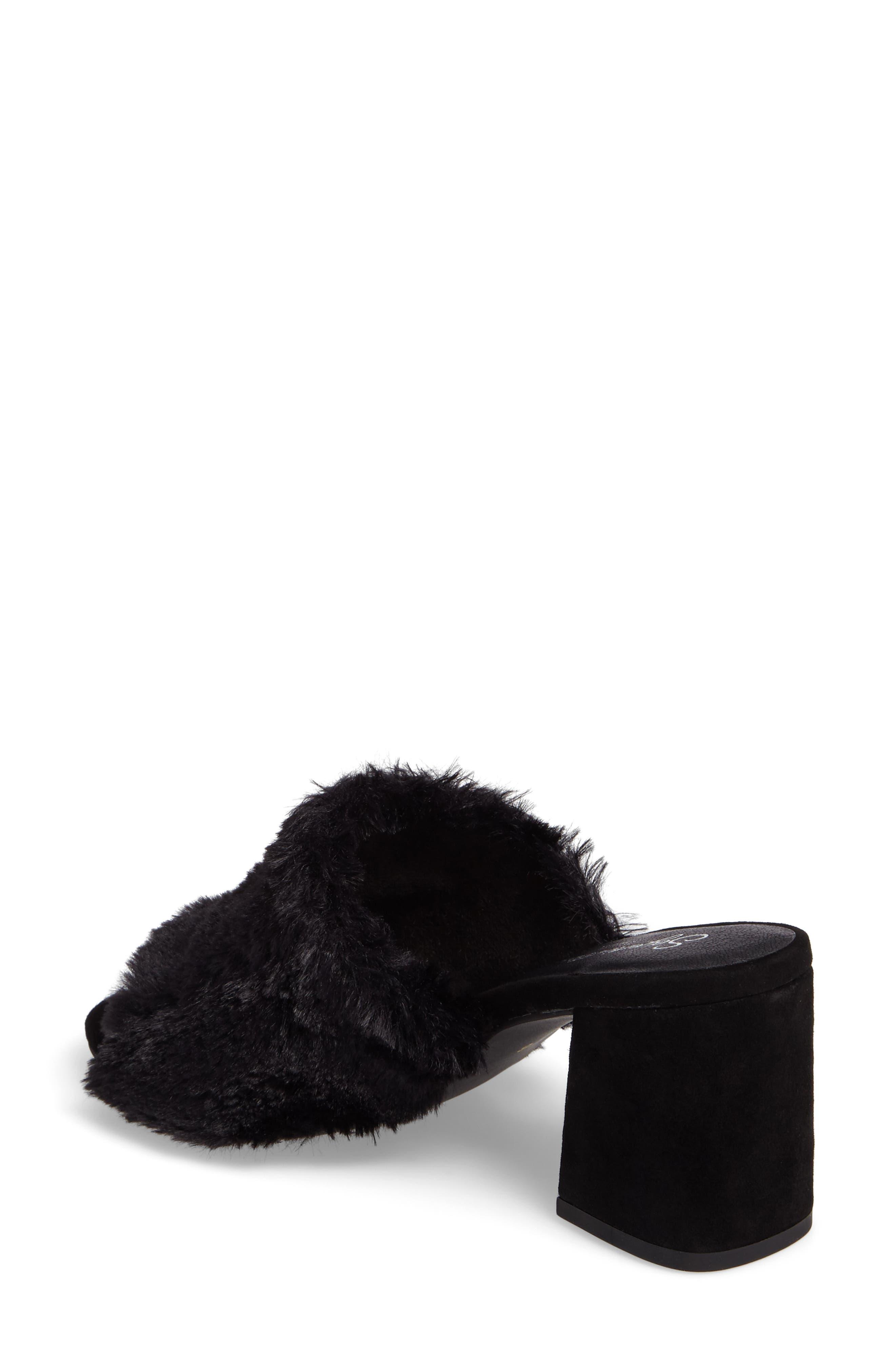 Nobody Else Faux Fur Slide Sandal,                             Alternate thumbnail 2, color,                             001