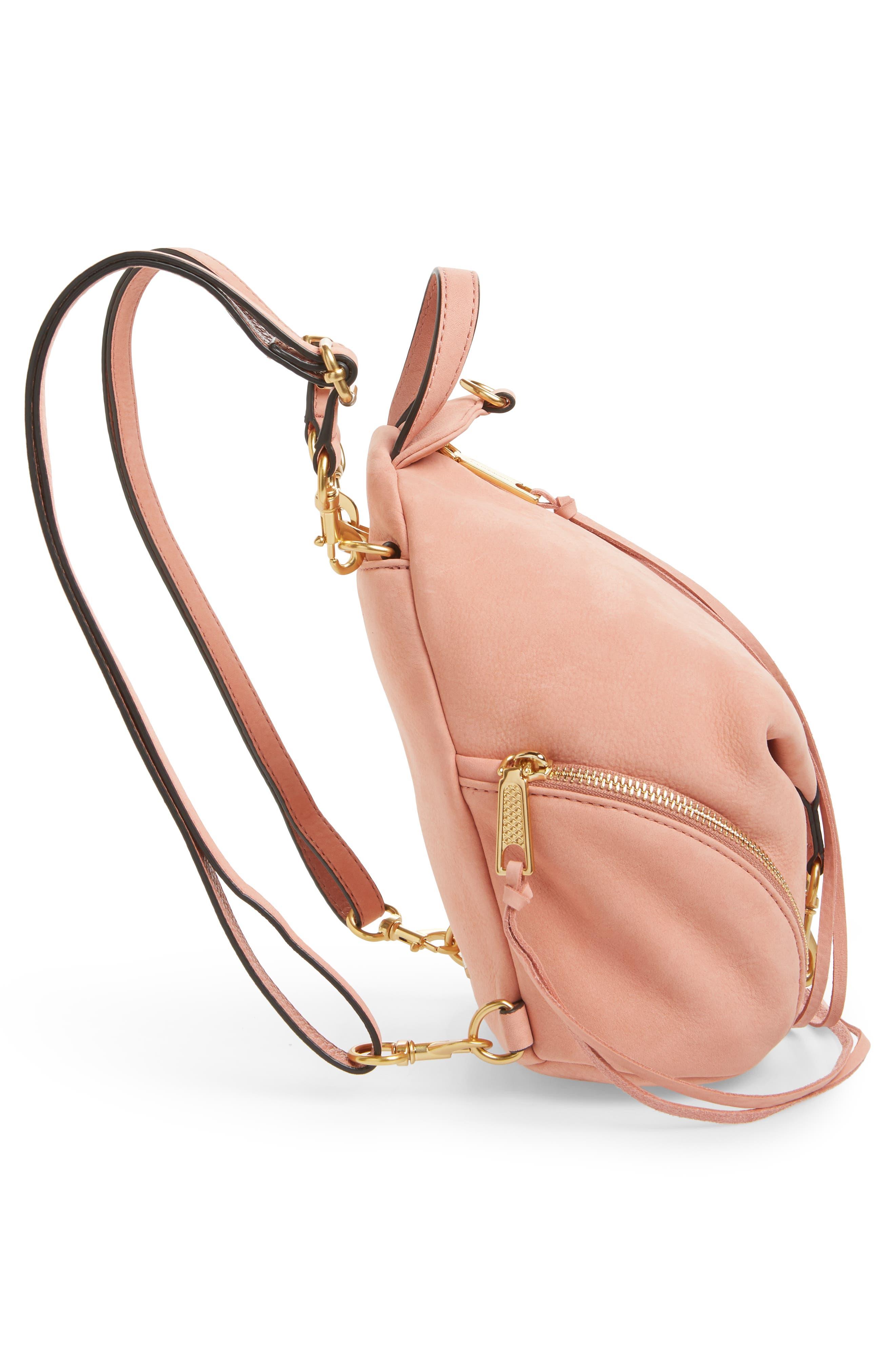 Mini Julian Nubuck Leather Convertible Backpack,                             Alternate thumbnail 5, color,                             DUSTY PEACH