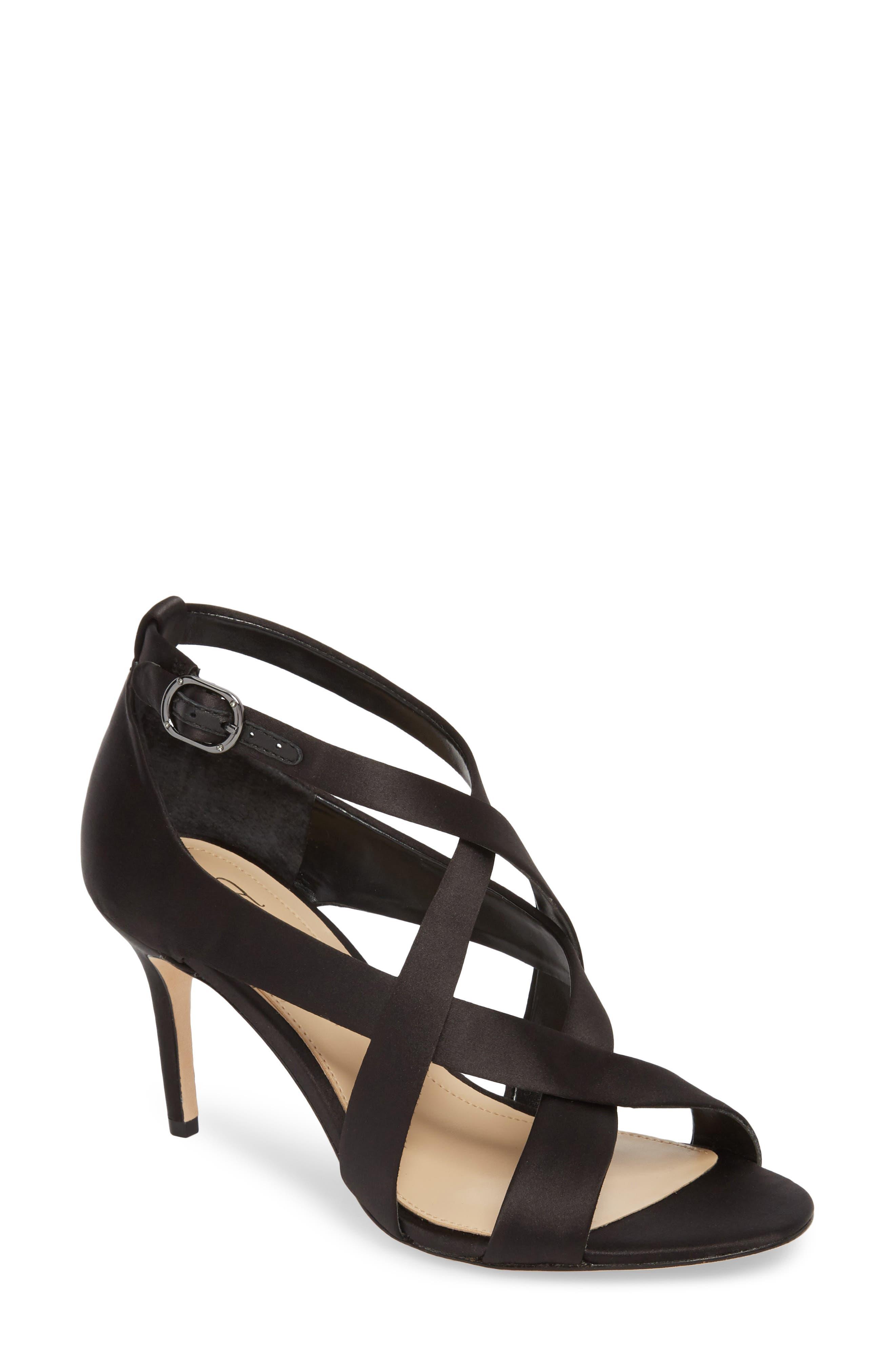 Paill Sandal,                         Main,                         color, BLACK SATIN