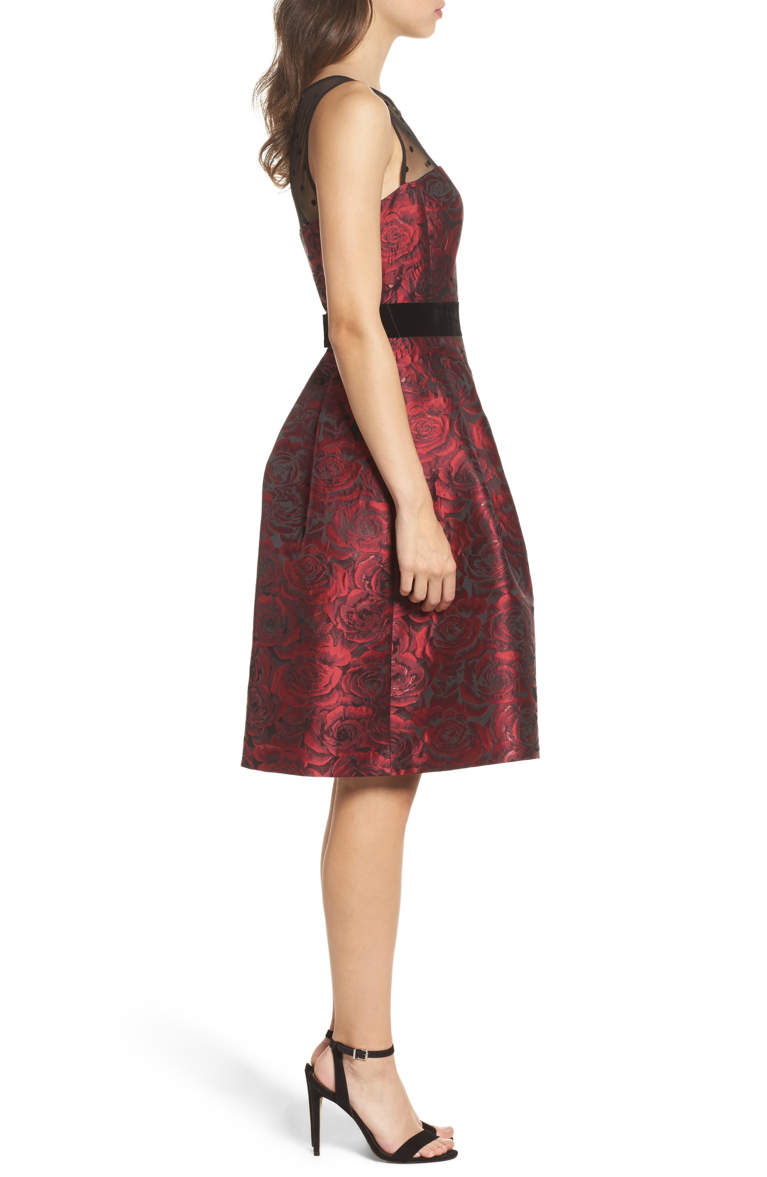 Jacquard Fit & Flare Dress,                             Alternate thumbnail 3, color,                             614