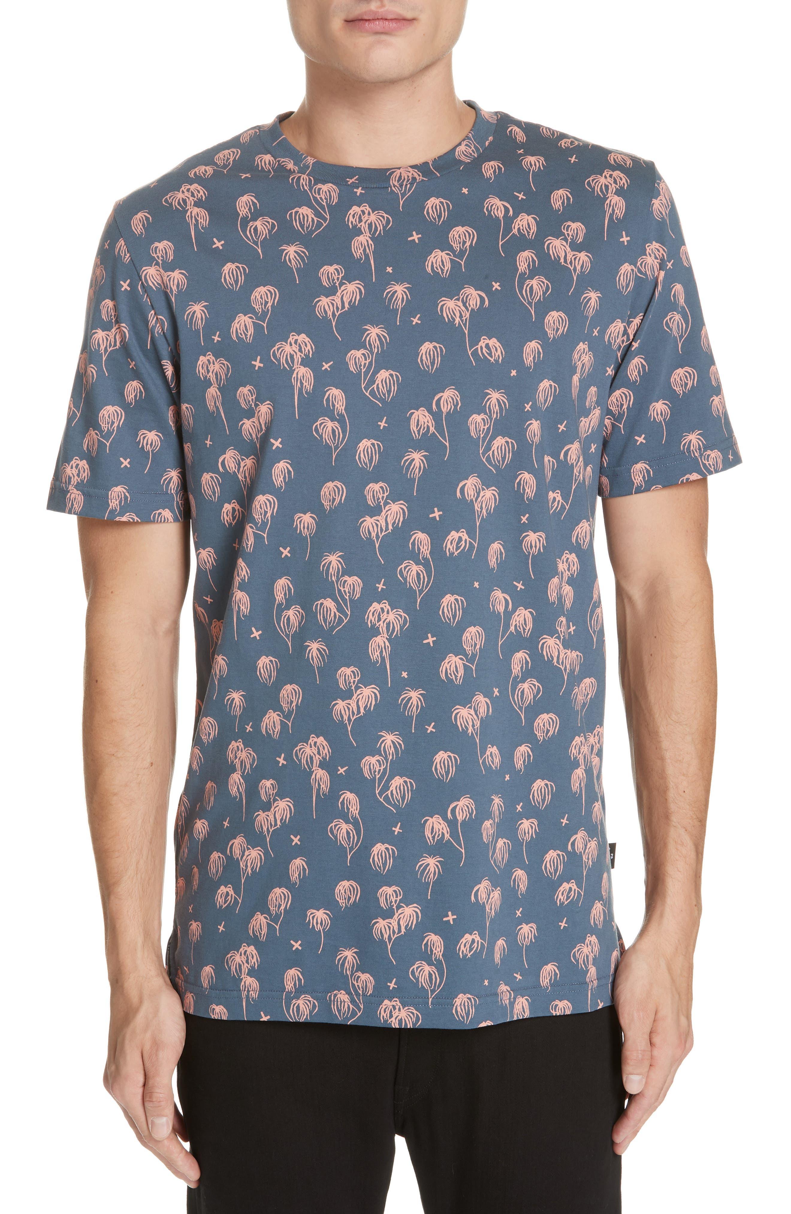 Palm Print T-Shirt,                         Main,                         color, BLUE