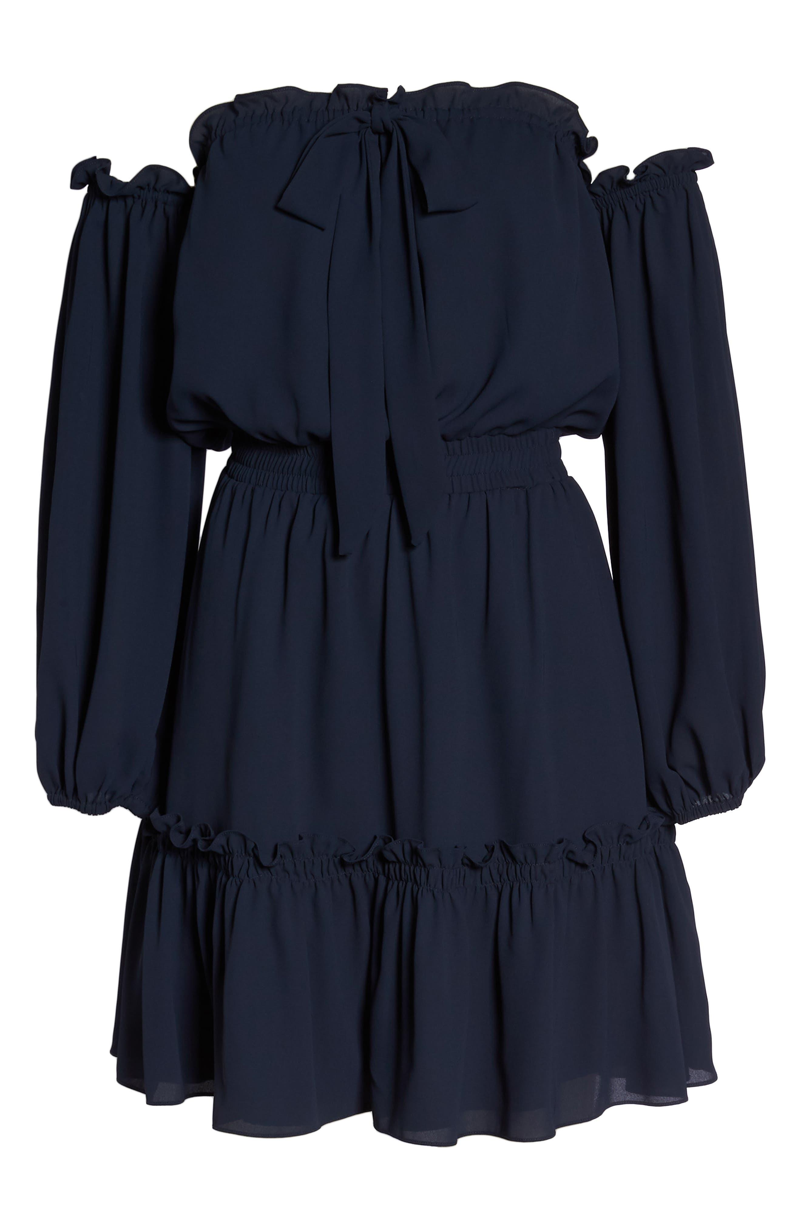 Off the Shoulder Halter Dress,                             Alternate thumbnail 8, color,                             402