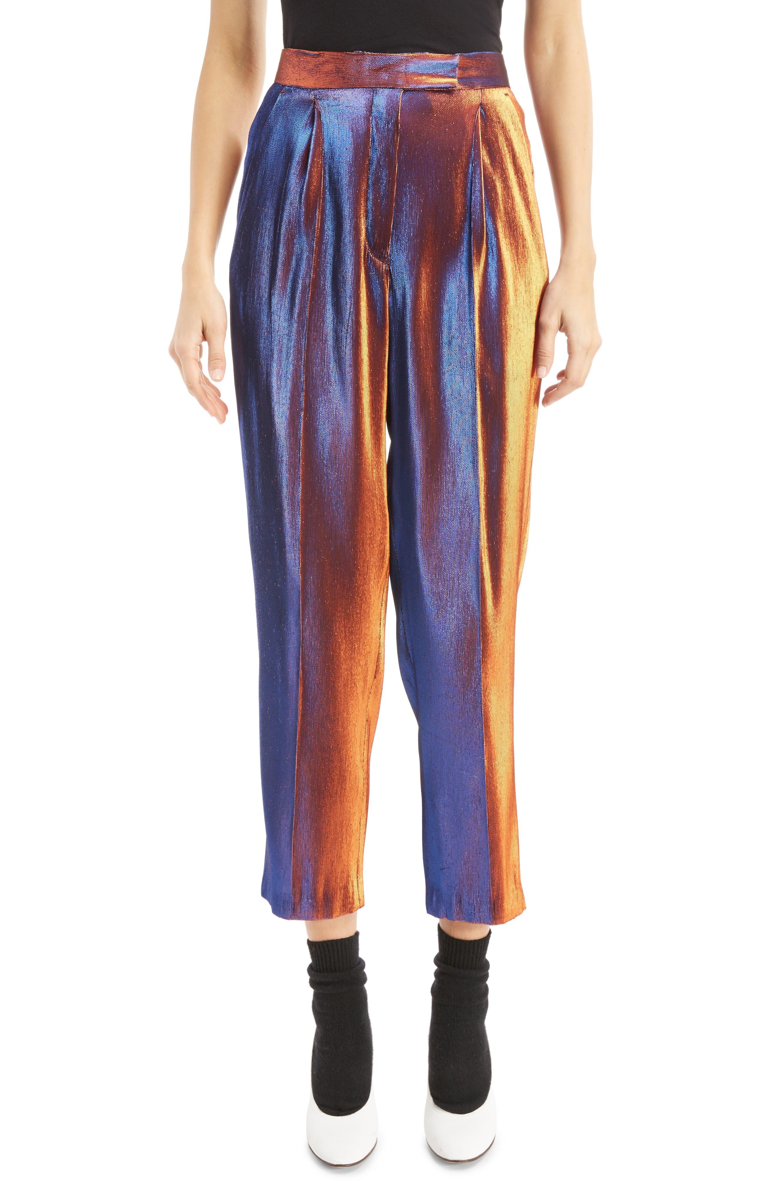 Two-Tone Lamé Crop Trousers,                             Main thumbnail 1, color,                             800