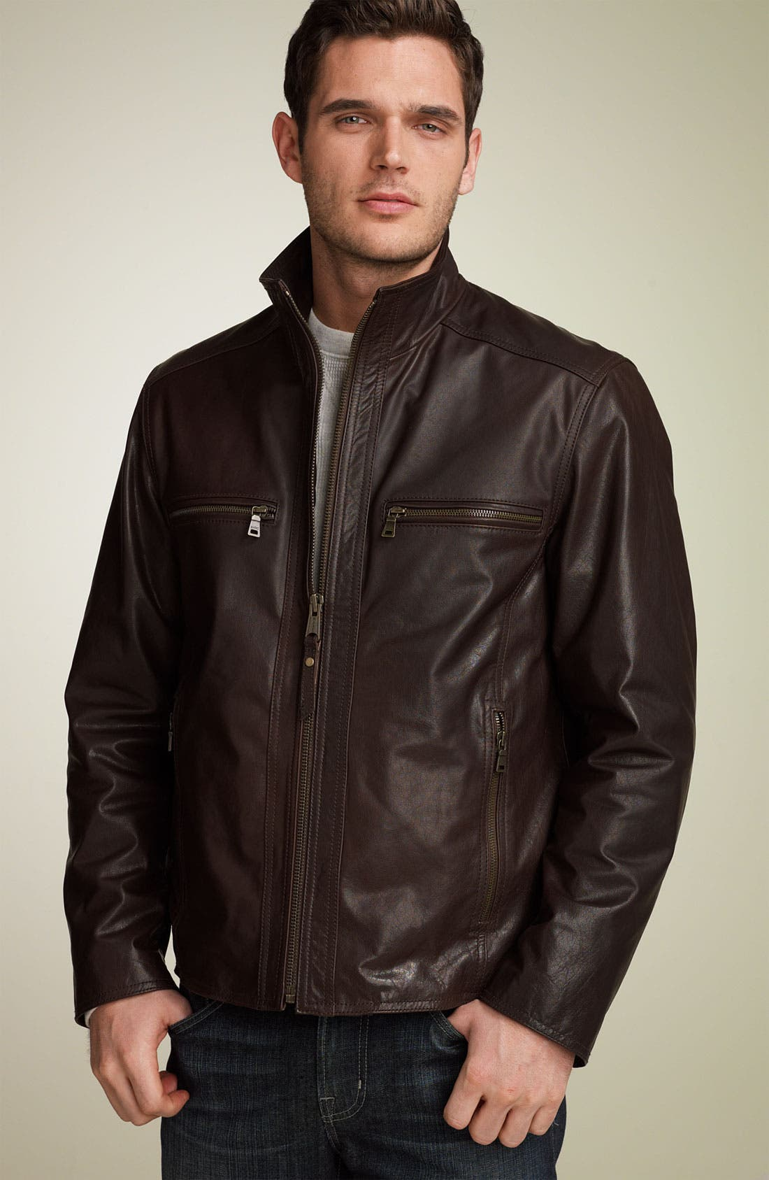 MARC NEW YORK,                             Distressed Buffalo Leather Jacket,                             Main thumbnail 1, color,                             210
