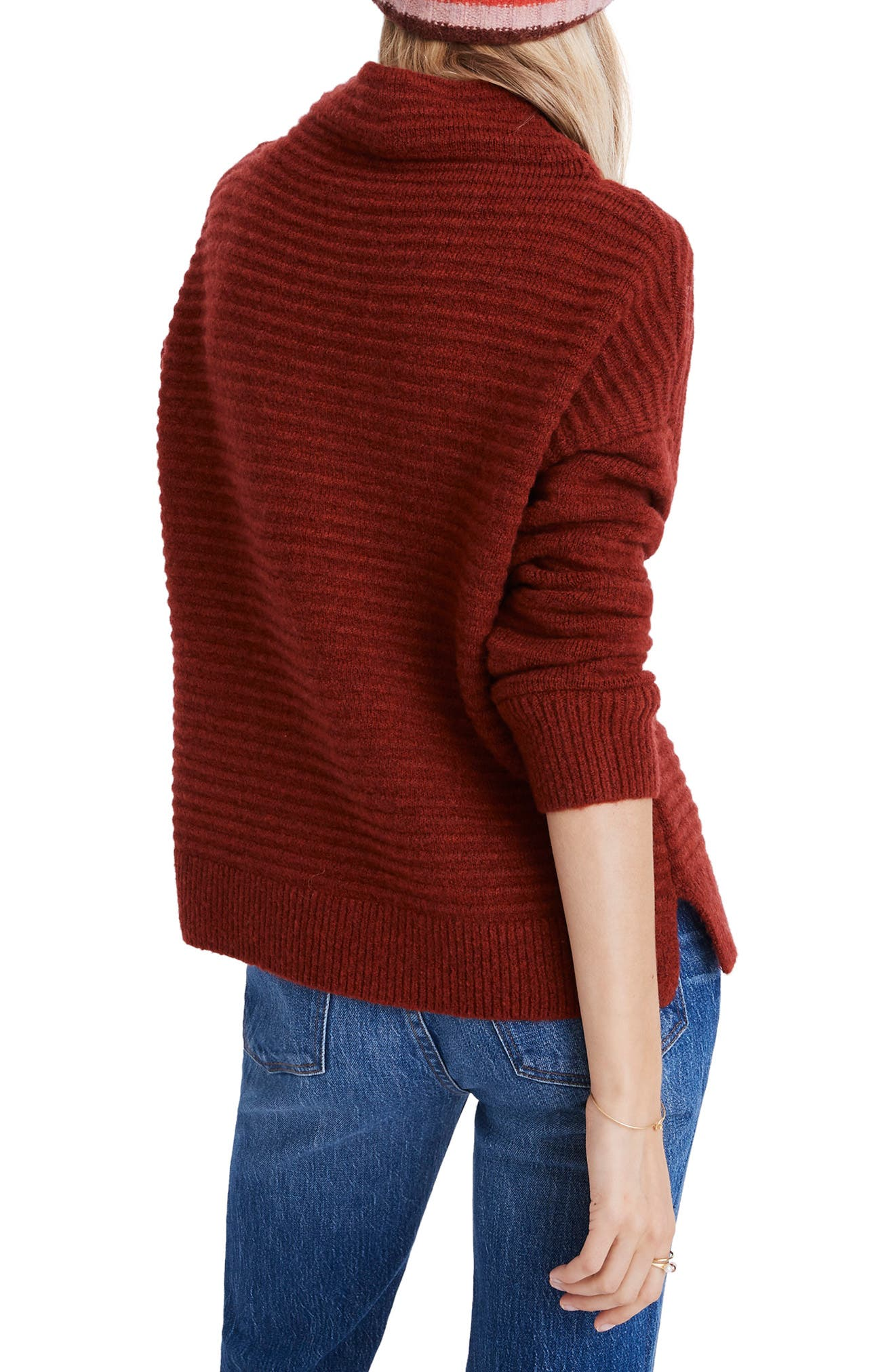 Belmont Mock Neck Sweater,                             Alternate thumbnail 2, color,                             HEATHER CARMINE