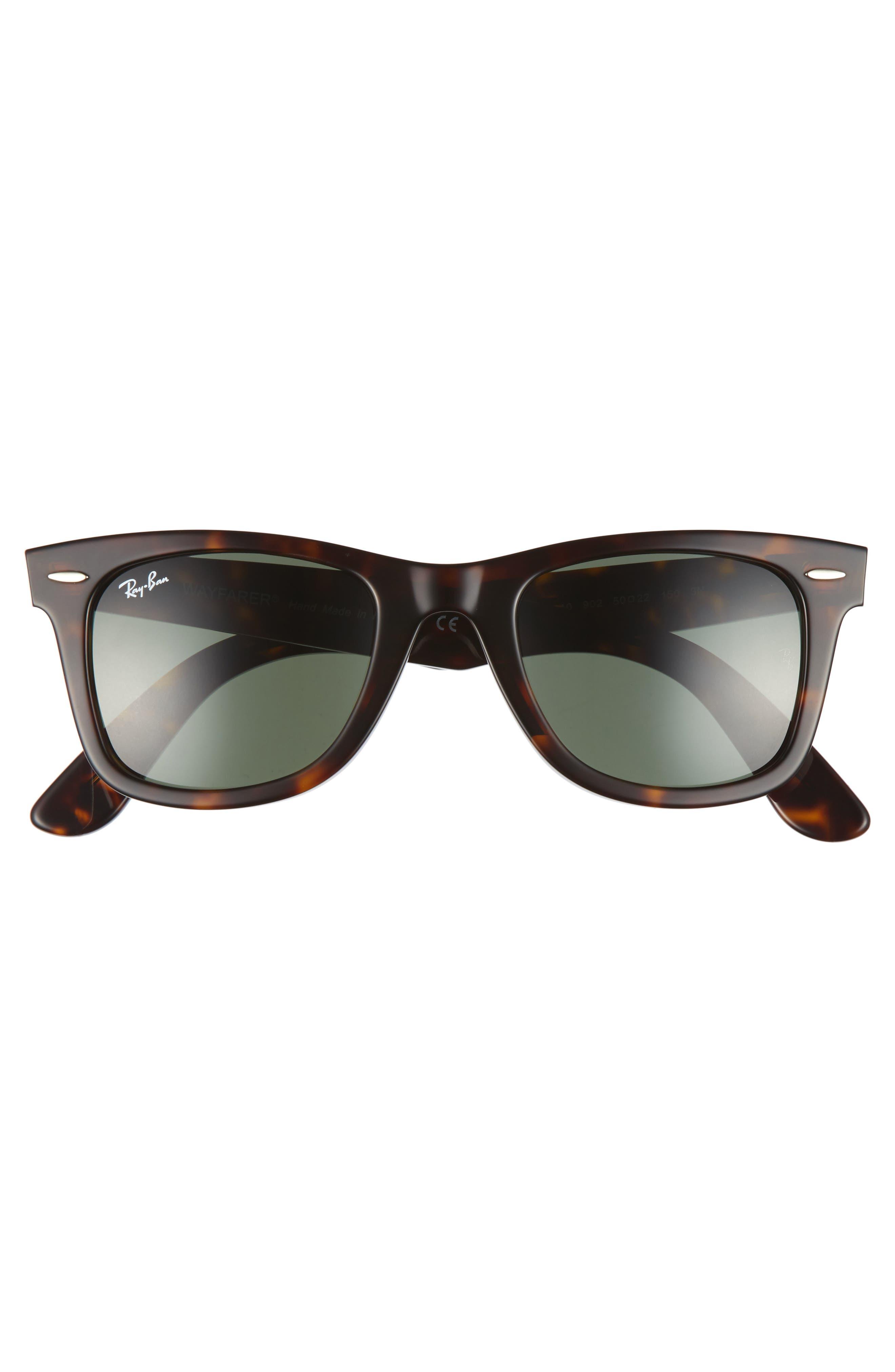 'Classic Wayfarer' 50mm Sunglasses,                             Alternate thumbnail 3, color,                             DARK TORTOISE/ GREEN
