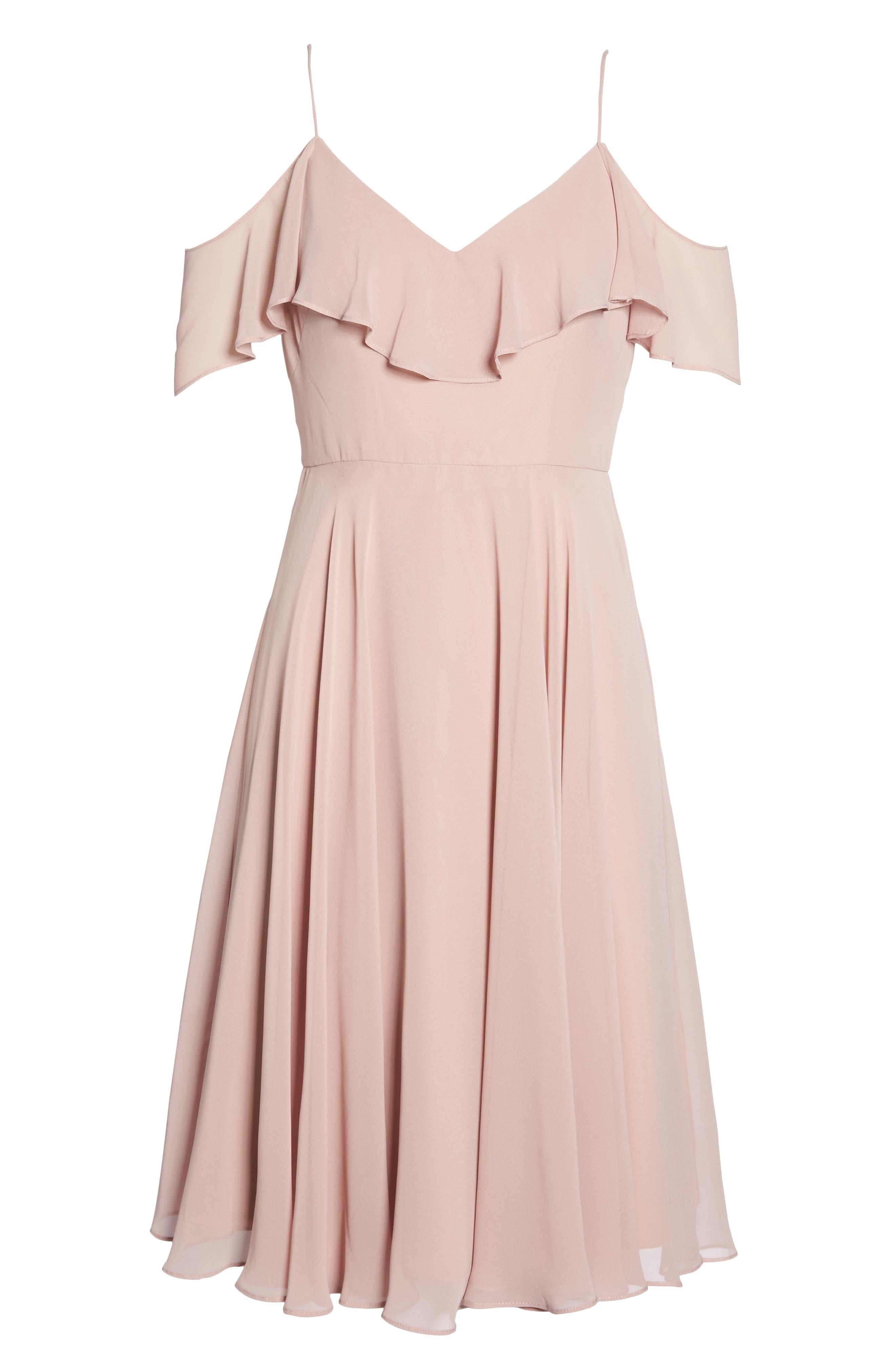 Kelli Cold Shoulder Chiffon Dress,                             Alternate thumbnail 6, color,                             664