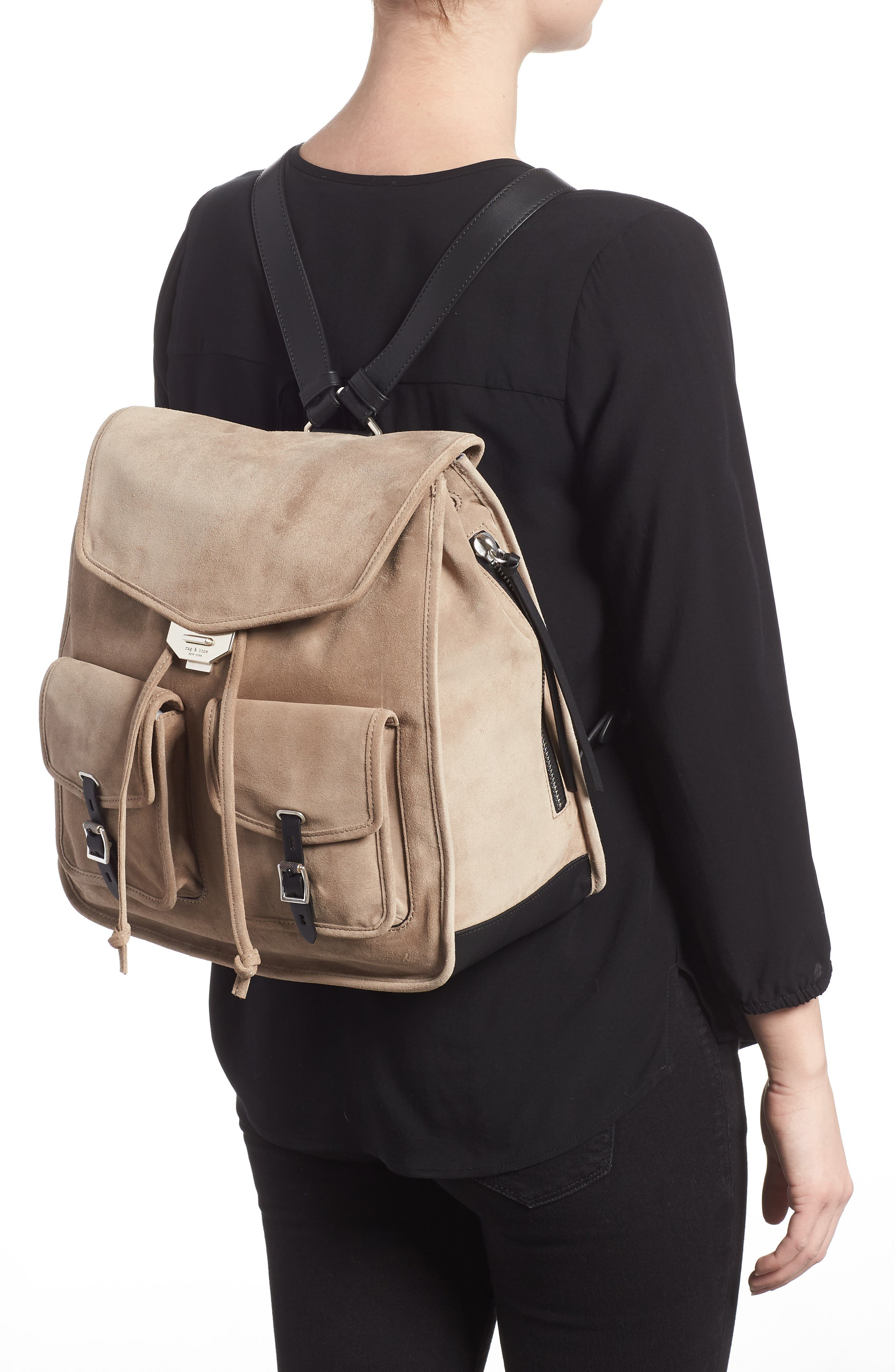Field Suede & Leather Backpack,                             Alternate thumbnail 2, color,                             WARM GREY SUEDE