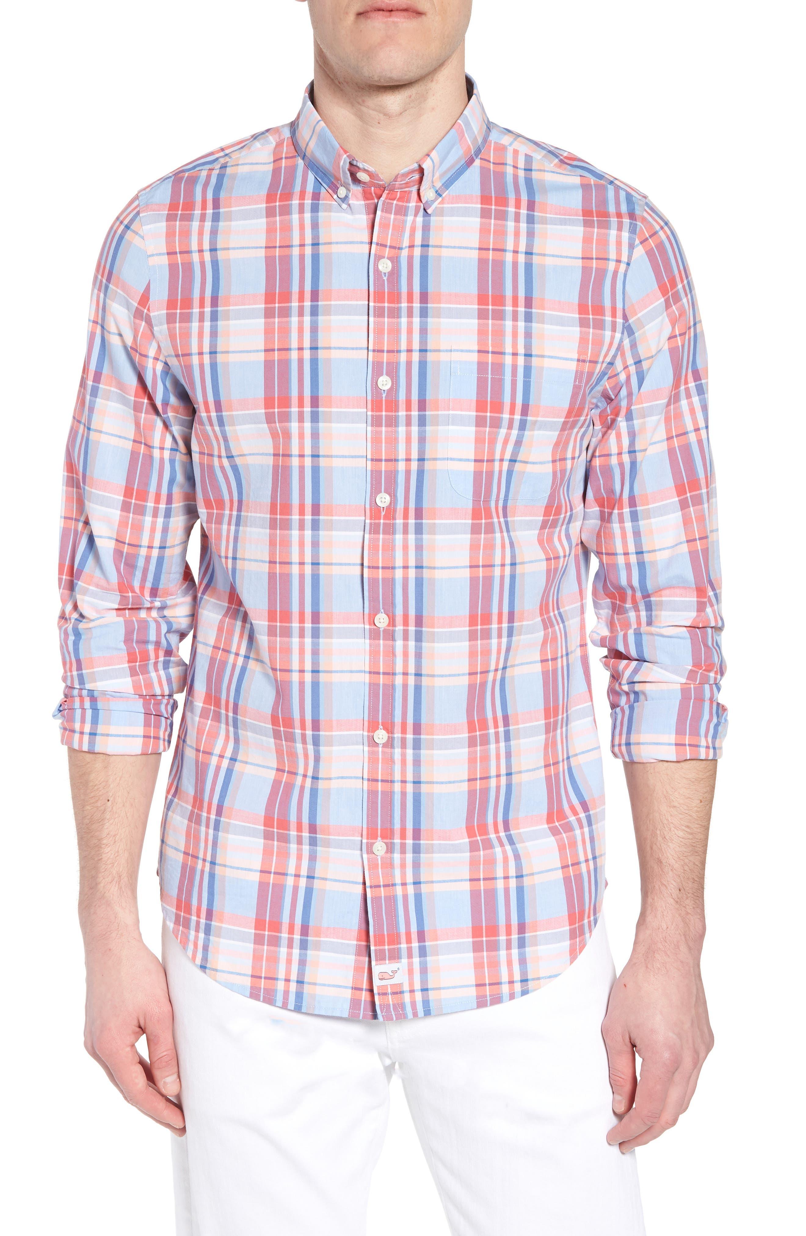 Fox Town Slim Fit Plaid Sport Shirt,                         Main,                         color, 628