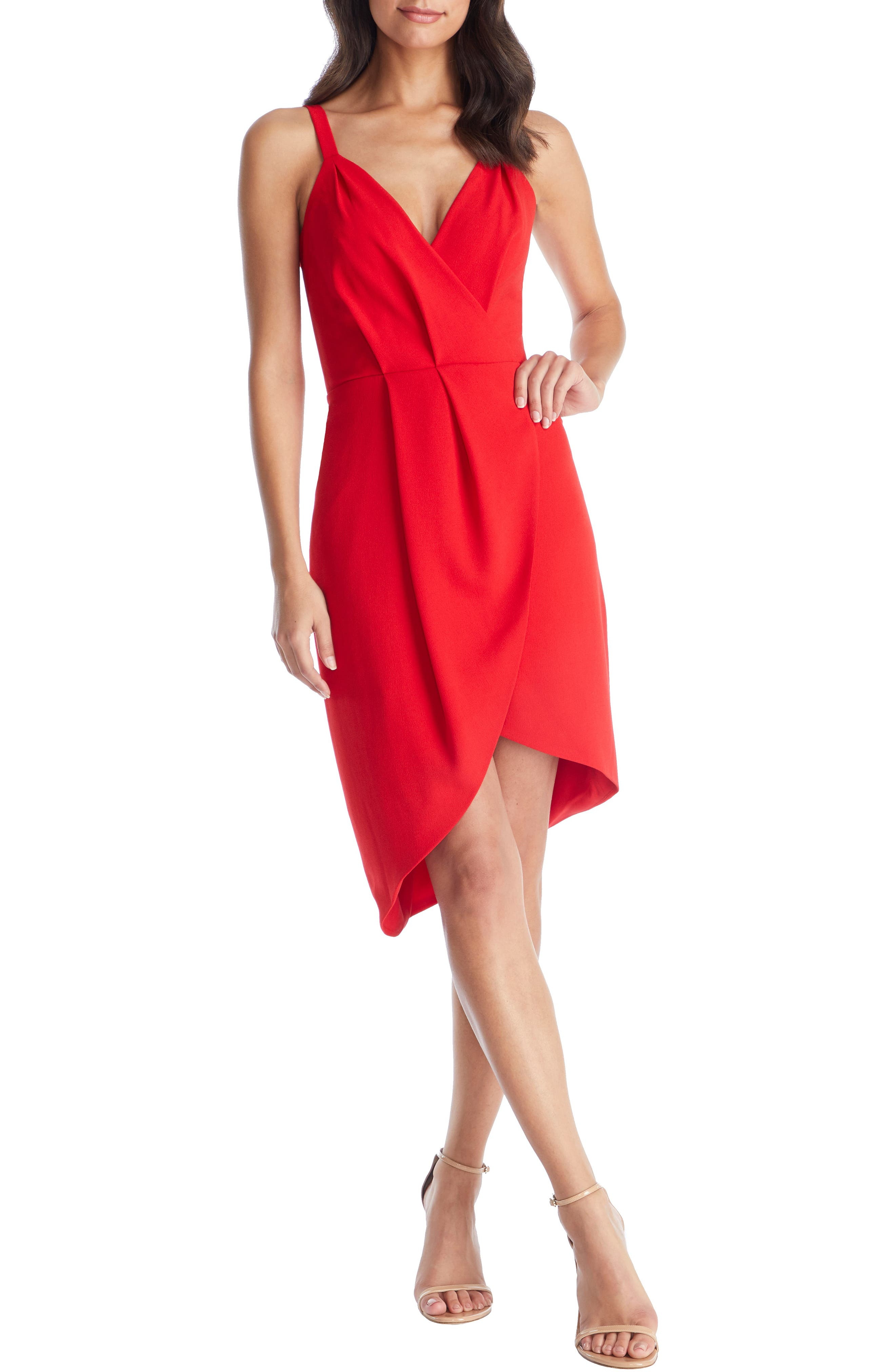 Dress The Population Owen Plunge Neck Faux Wrap Dress, Red