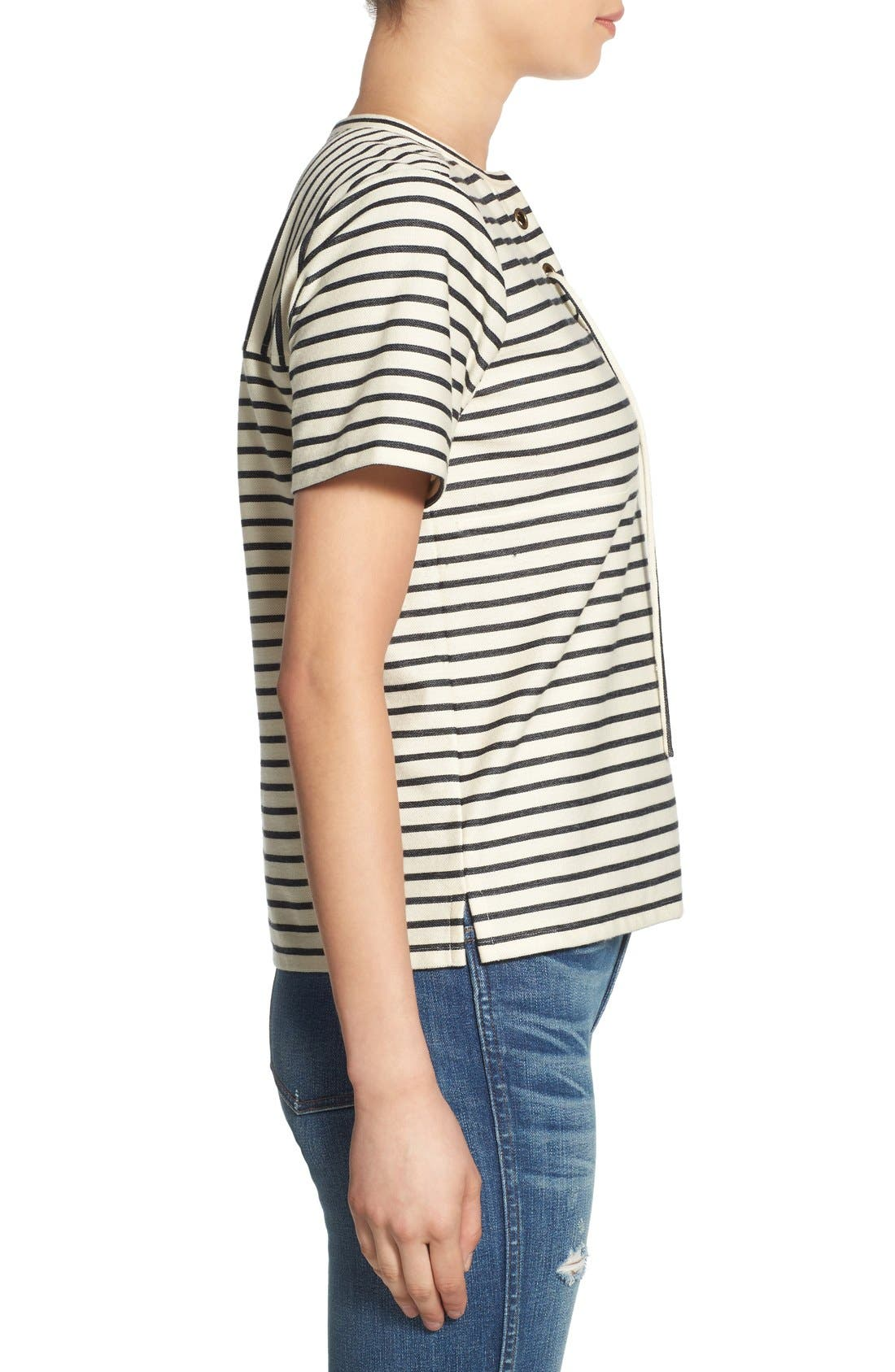 Stripe Lace-Up Top,                             Alternate thumbnail 3, color,                             900
