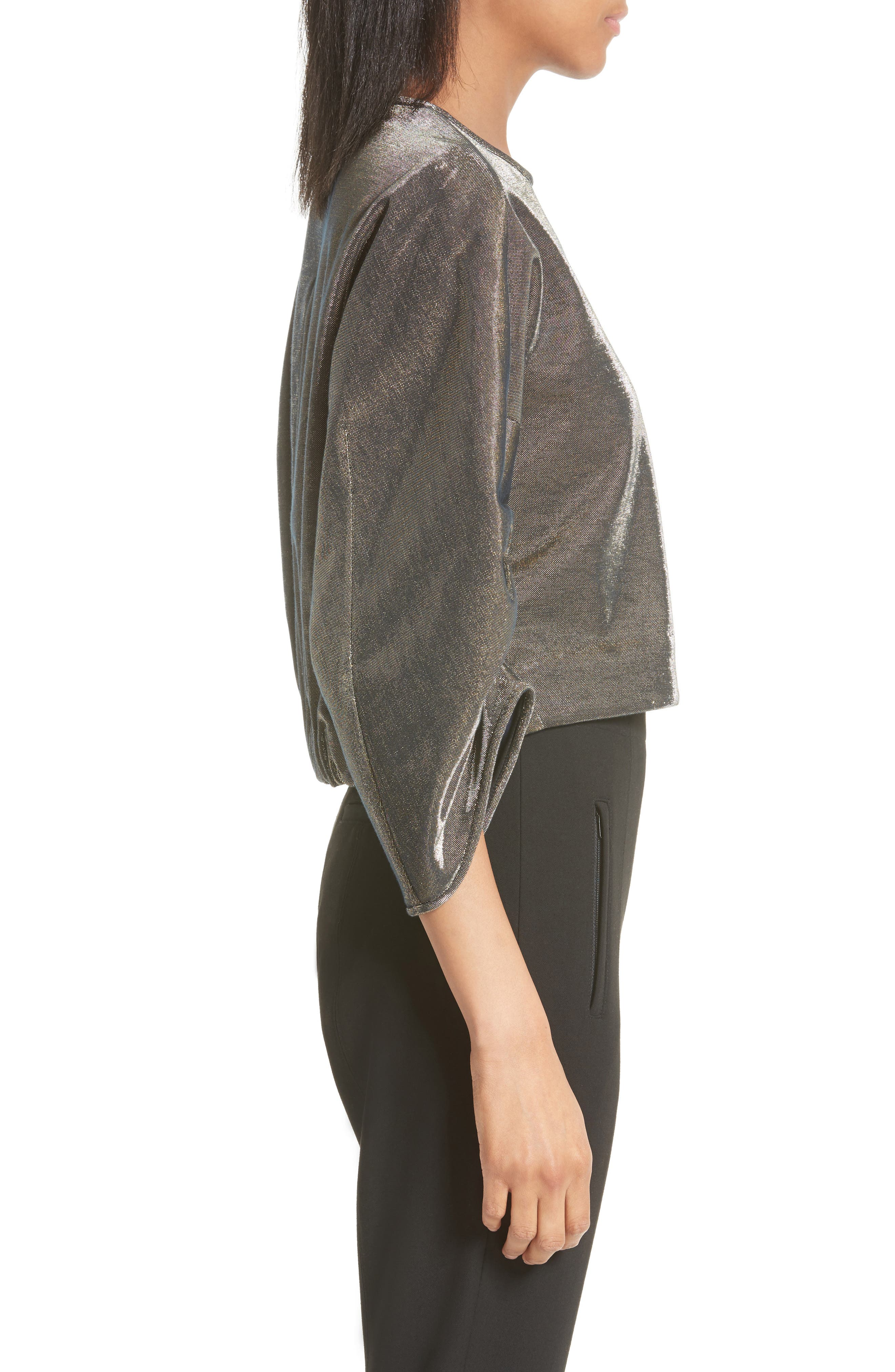 Ruched Sleeve Metallic Top,                             Alternate thumbnail 3, color,                             710