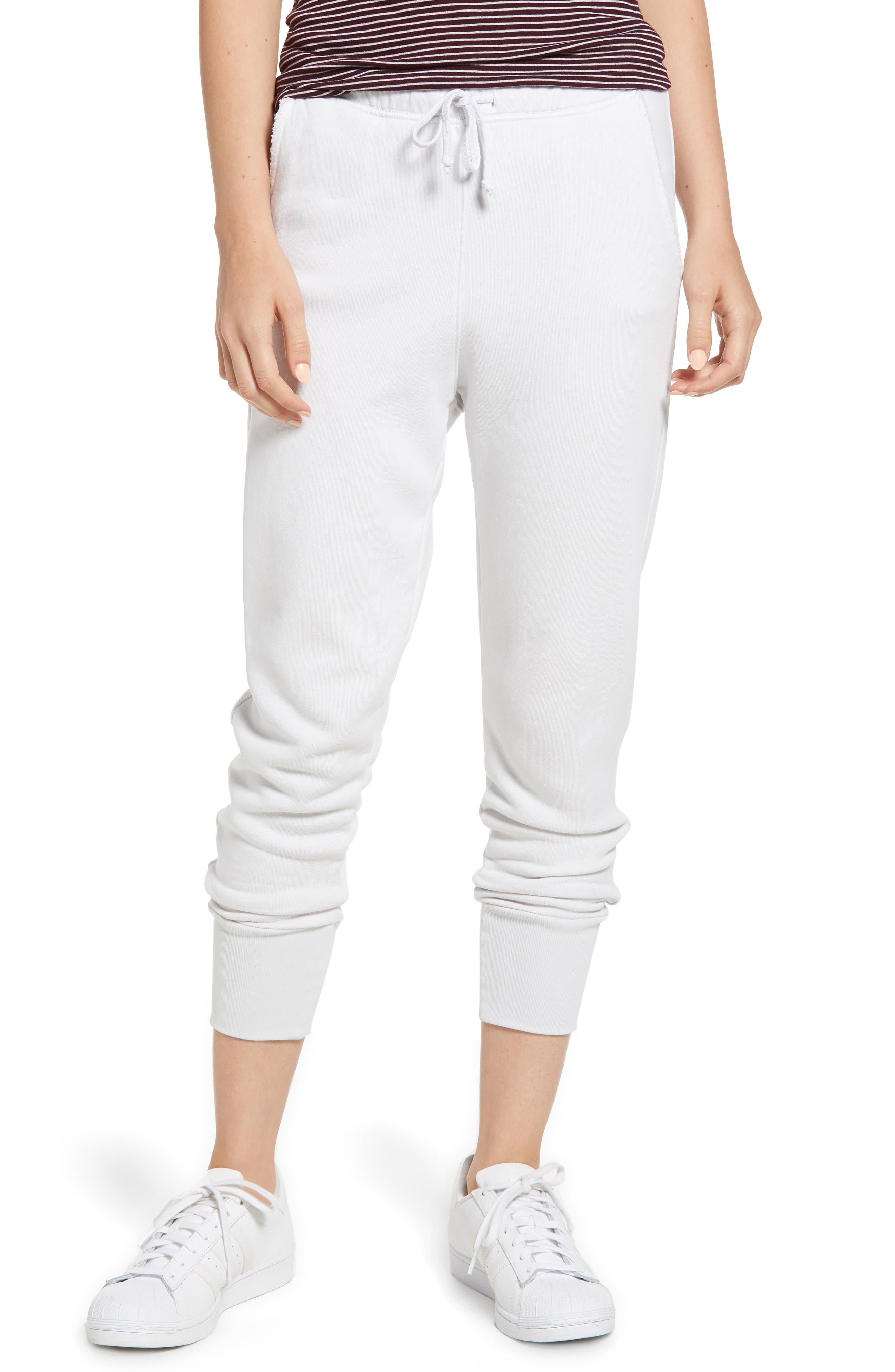 Cotton Fleece Cuffed Jogger Sweatpants in Dirty White