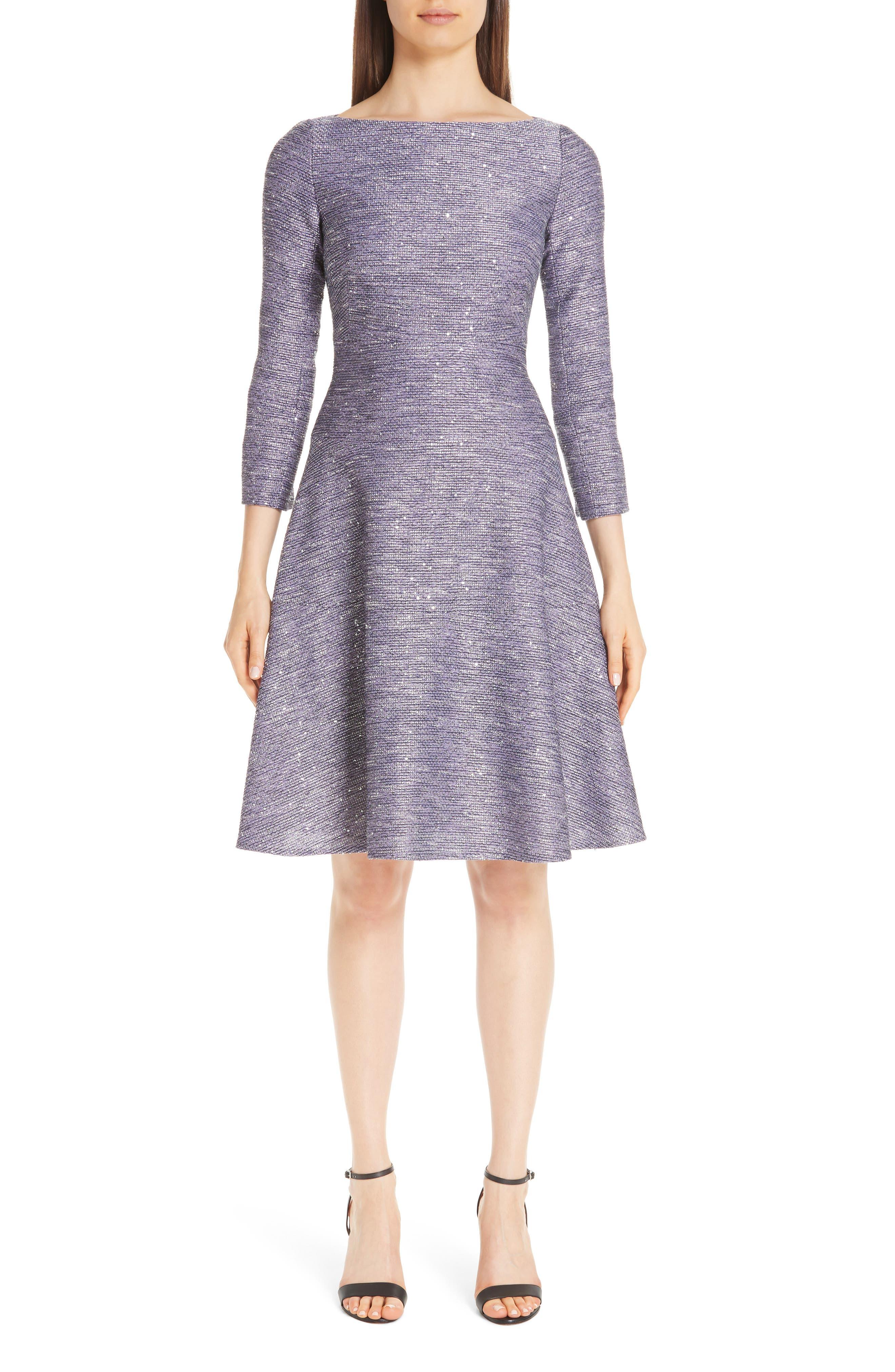 Lela Rose Sequin Tweed Fit & Flare Dress, Purple