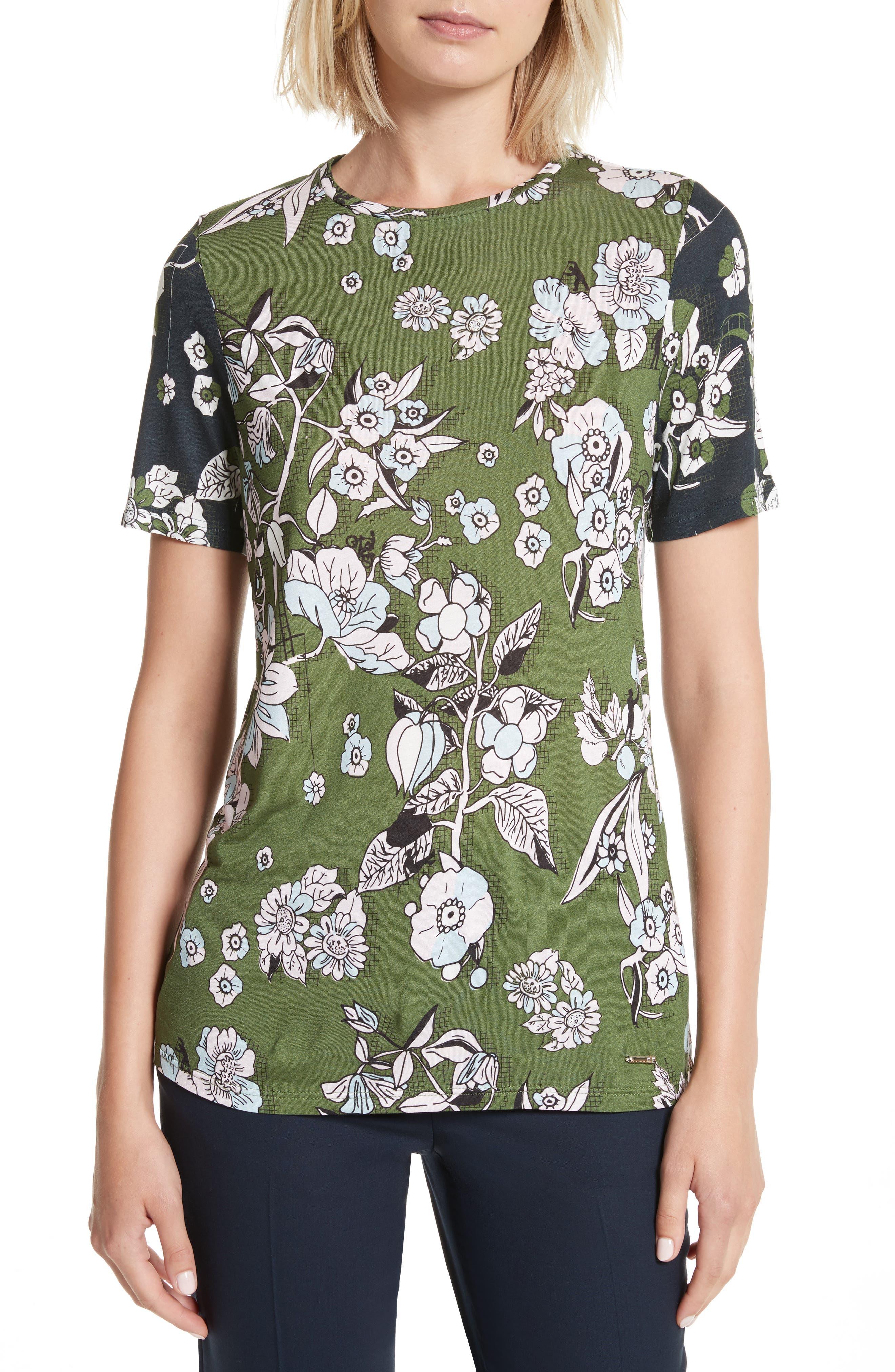Adren Floral Print Tee,                         Main,                         color, 311