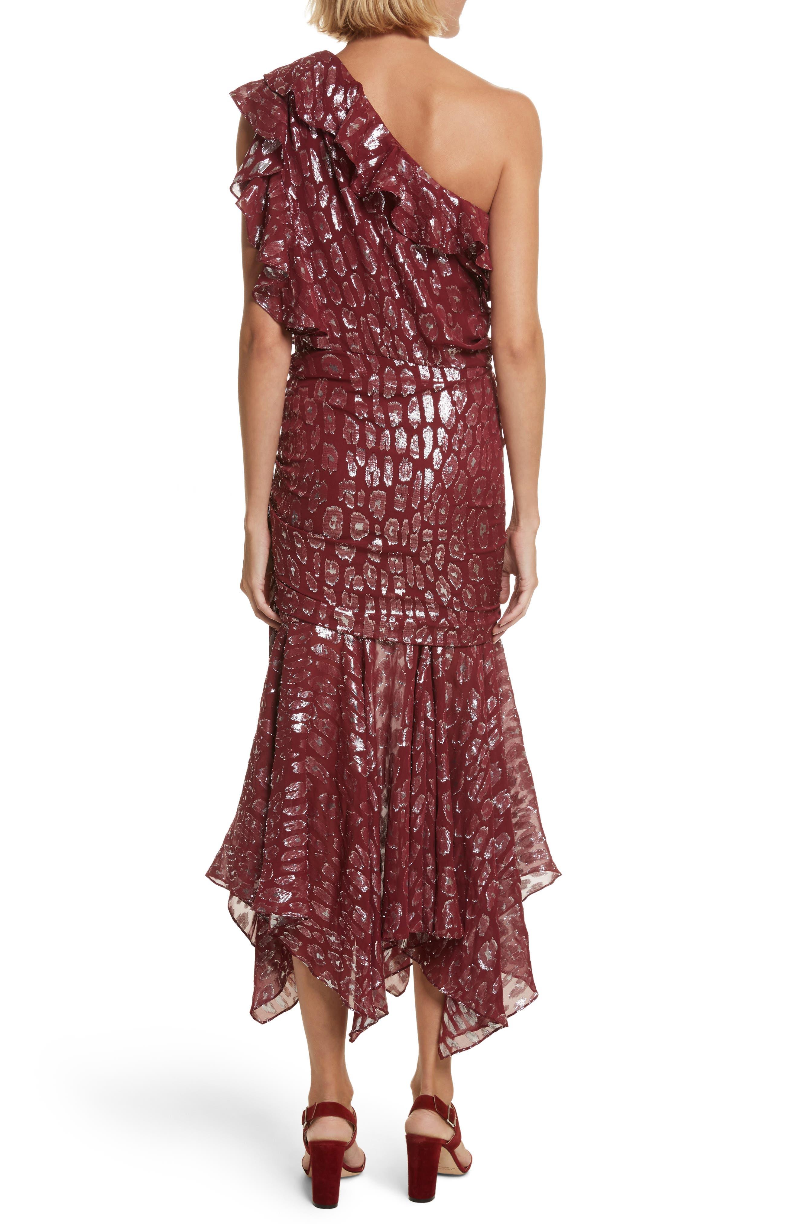 Leighton Fil Coupé One-Shoulder Dress,                             Alternate thumbnail 2, color,                             641
