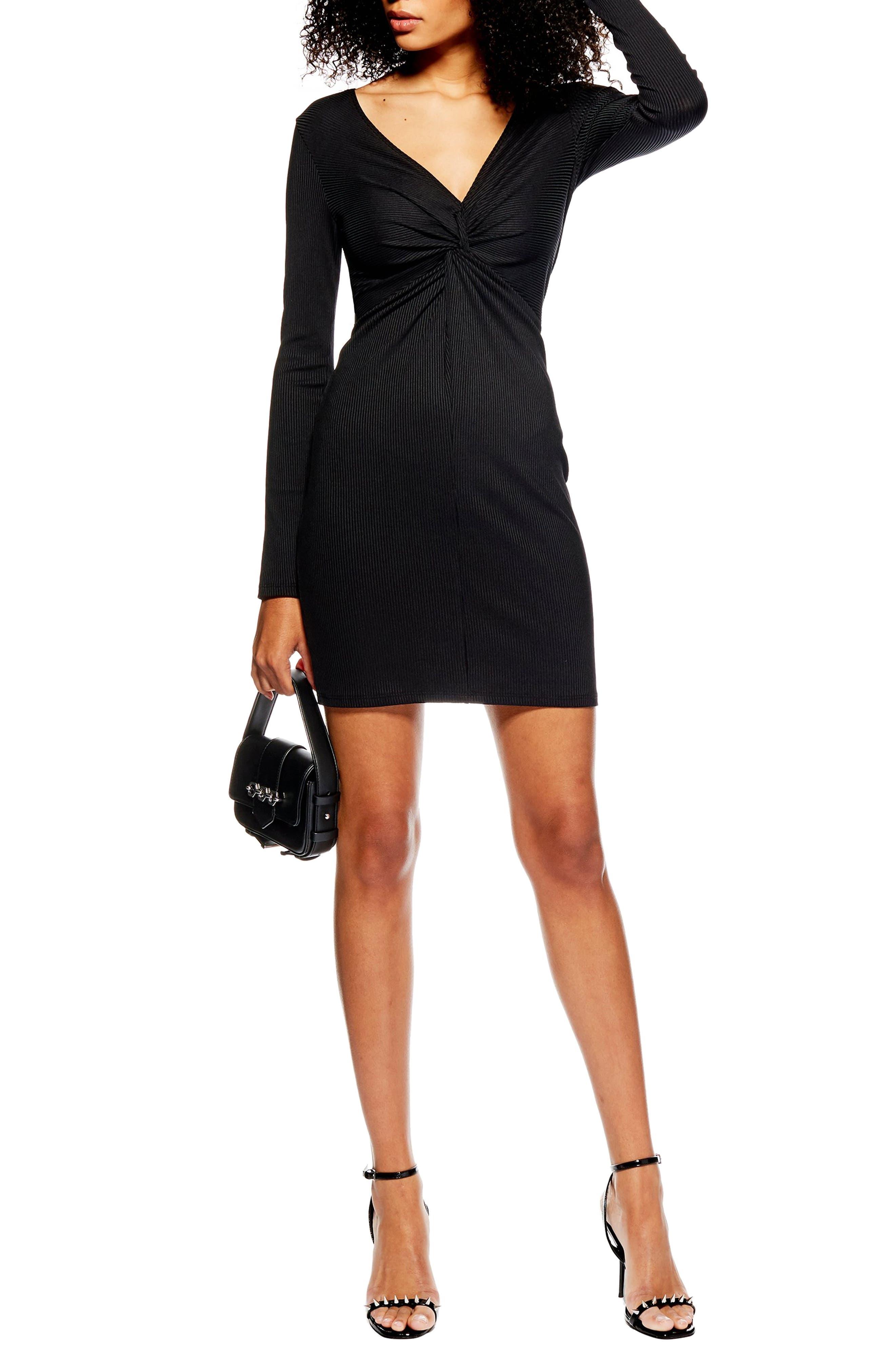 Topshop Rib Knot Minidress, US (fits like 0-2) - Black