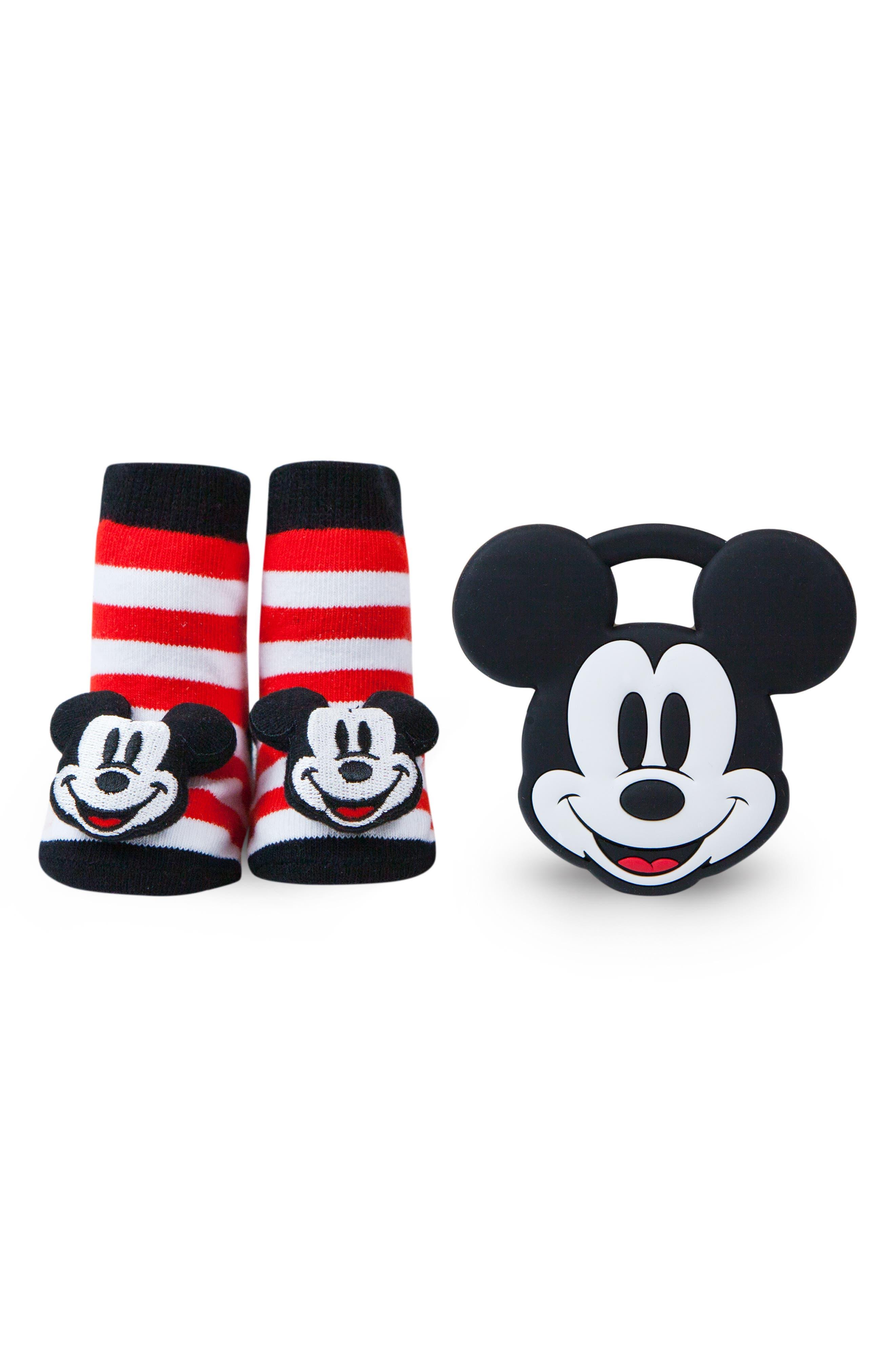 Disney Mickey Rattle Socks & Teether Gift Set,                             Alternate thumbnail 2, color,                             BLACK/ WHITE