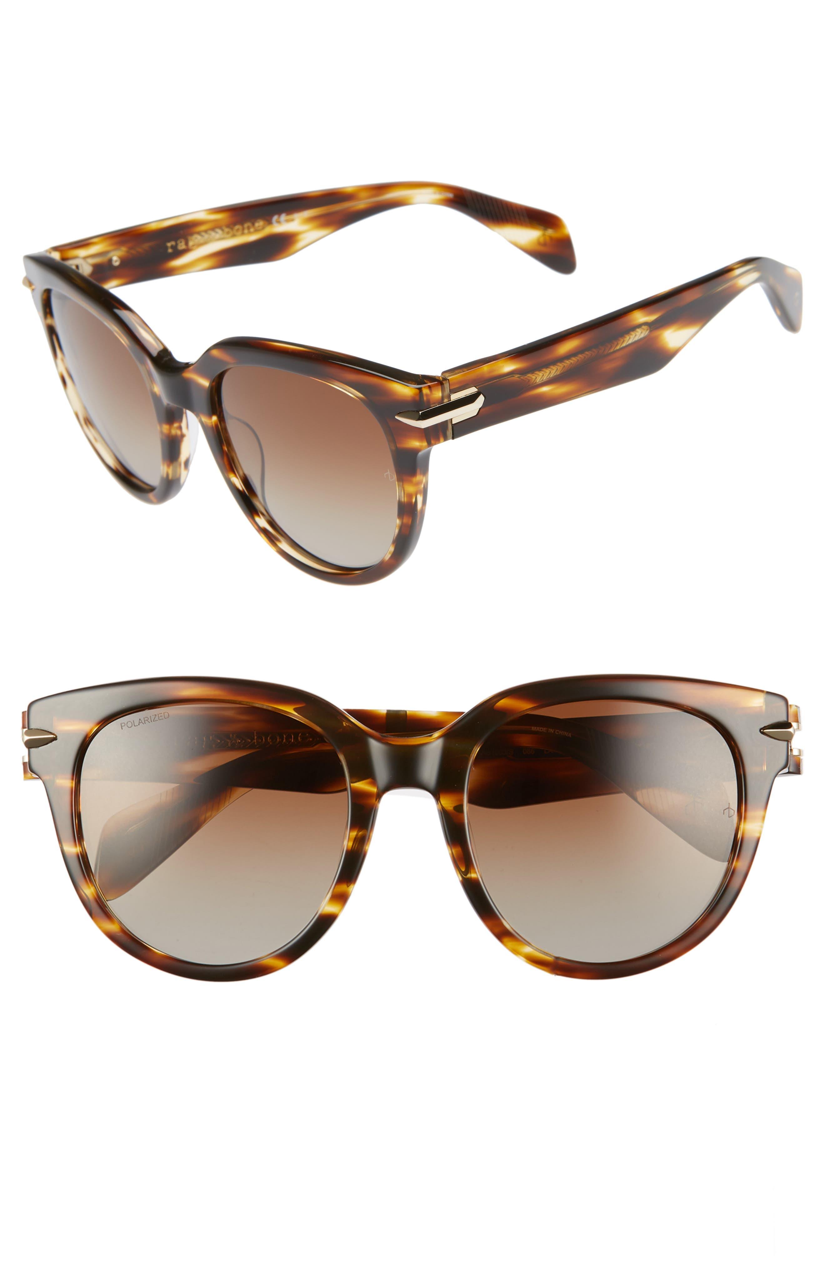 54mm Round Sunglasses,                             Main thumbnail 1, color,                             DARK HAVANA