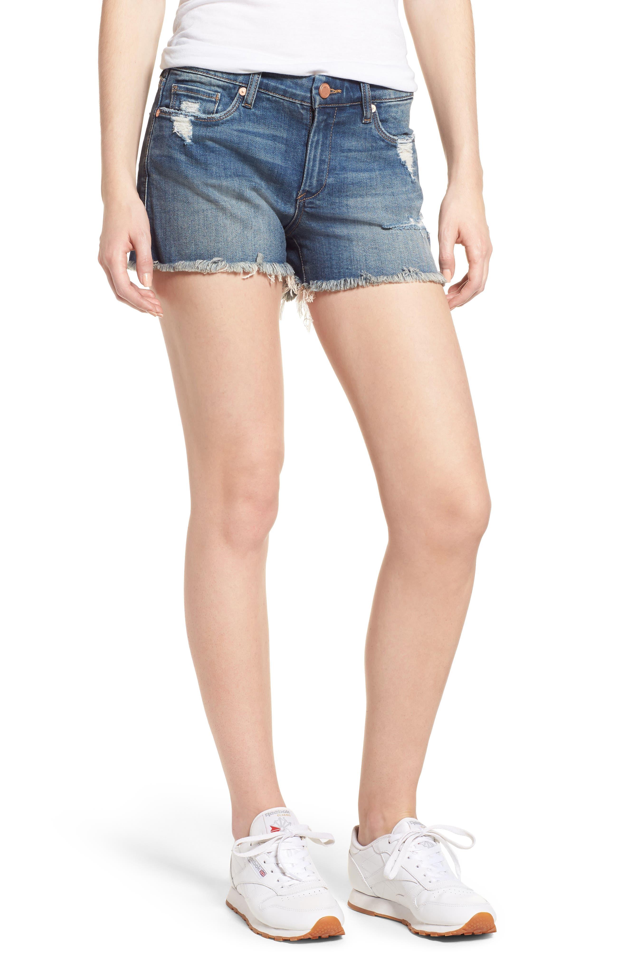 The Essex Distressed Denim Shorts,                         Main,                         color, ALTER EGO