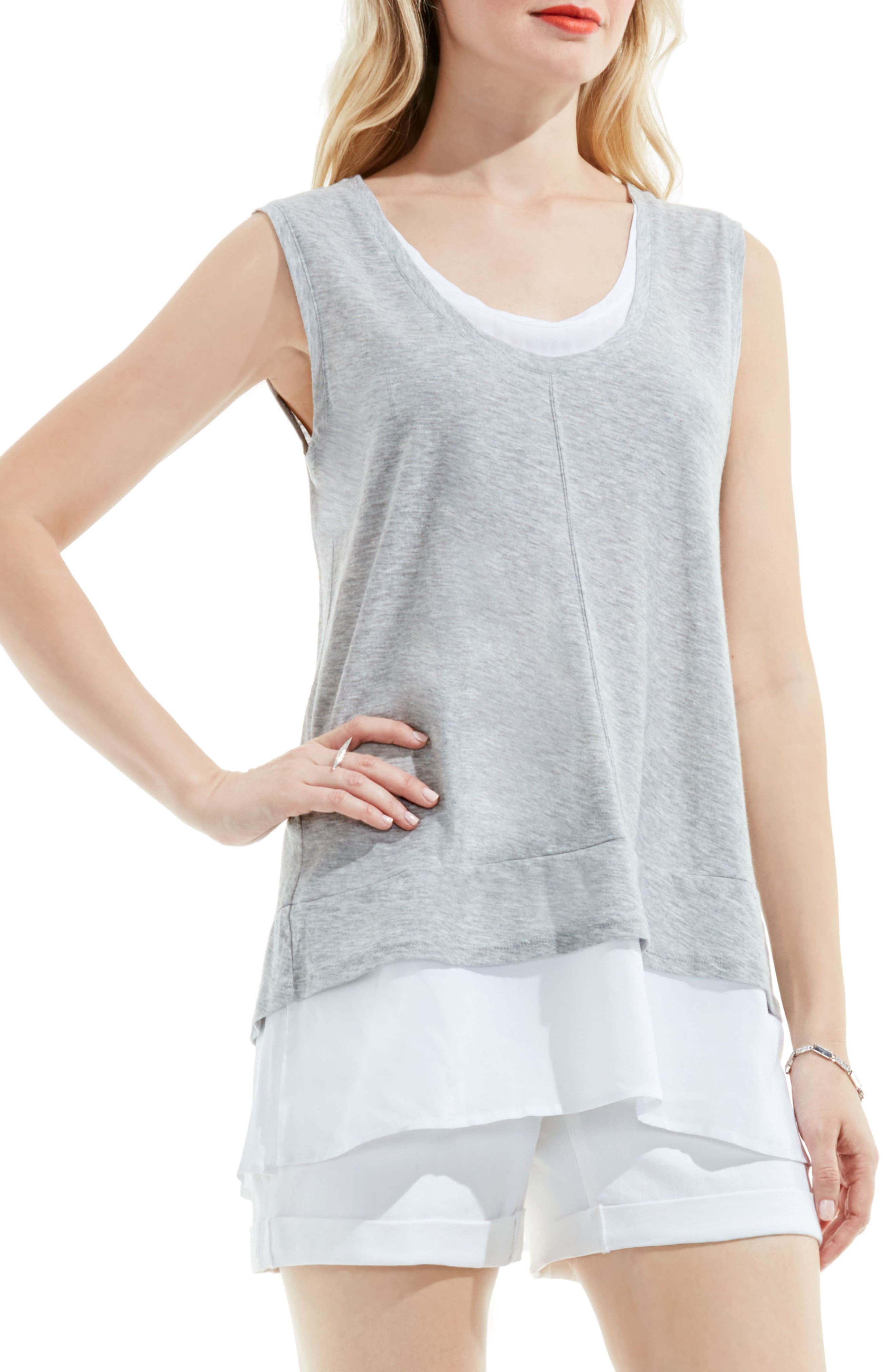 TWO BY VINCE CAMUTO Mixed Media Top in Grey Heather