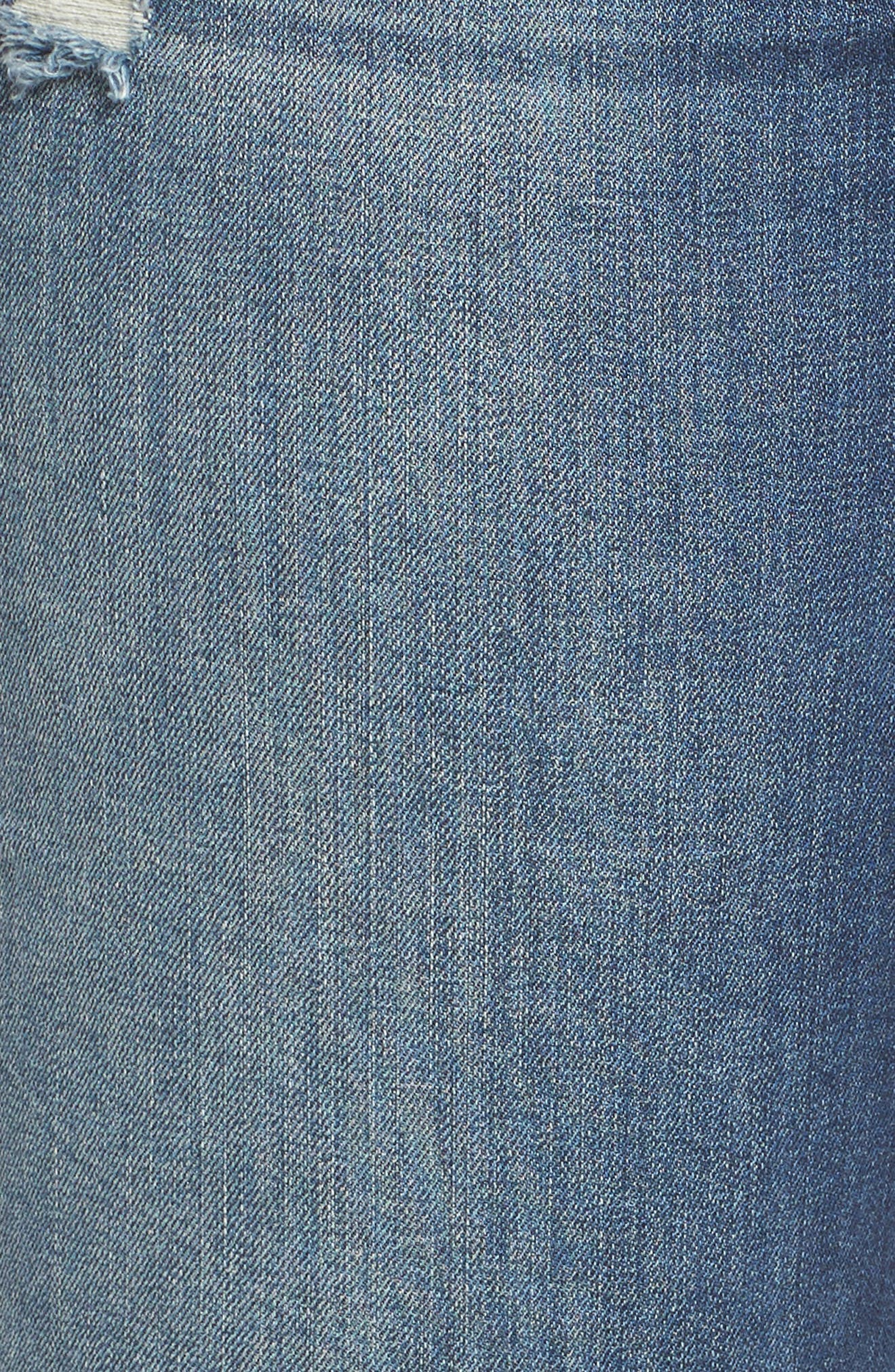 Ripped Roll Cuff Boyfriend Jeans,                             Alternate thumbnail 6, color,                             HUNTER