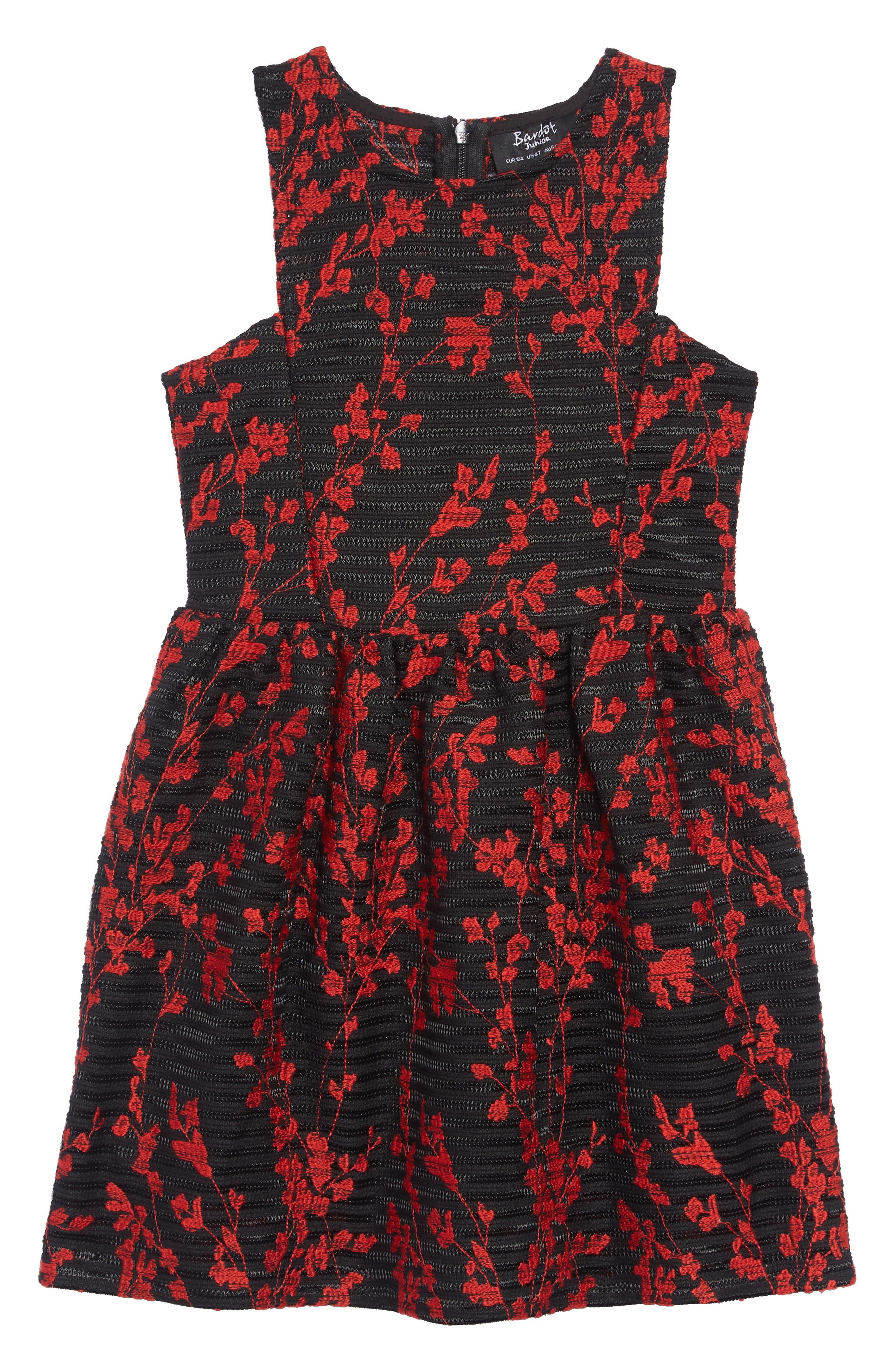 Mercer Flower Embroidered Dress,                             Main thumbnail 1, color,                             BLACK