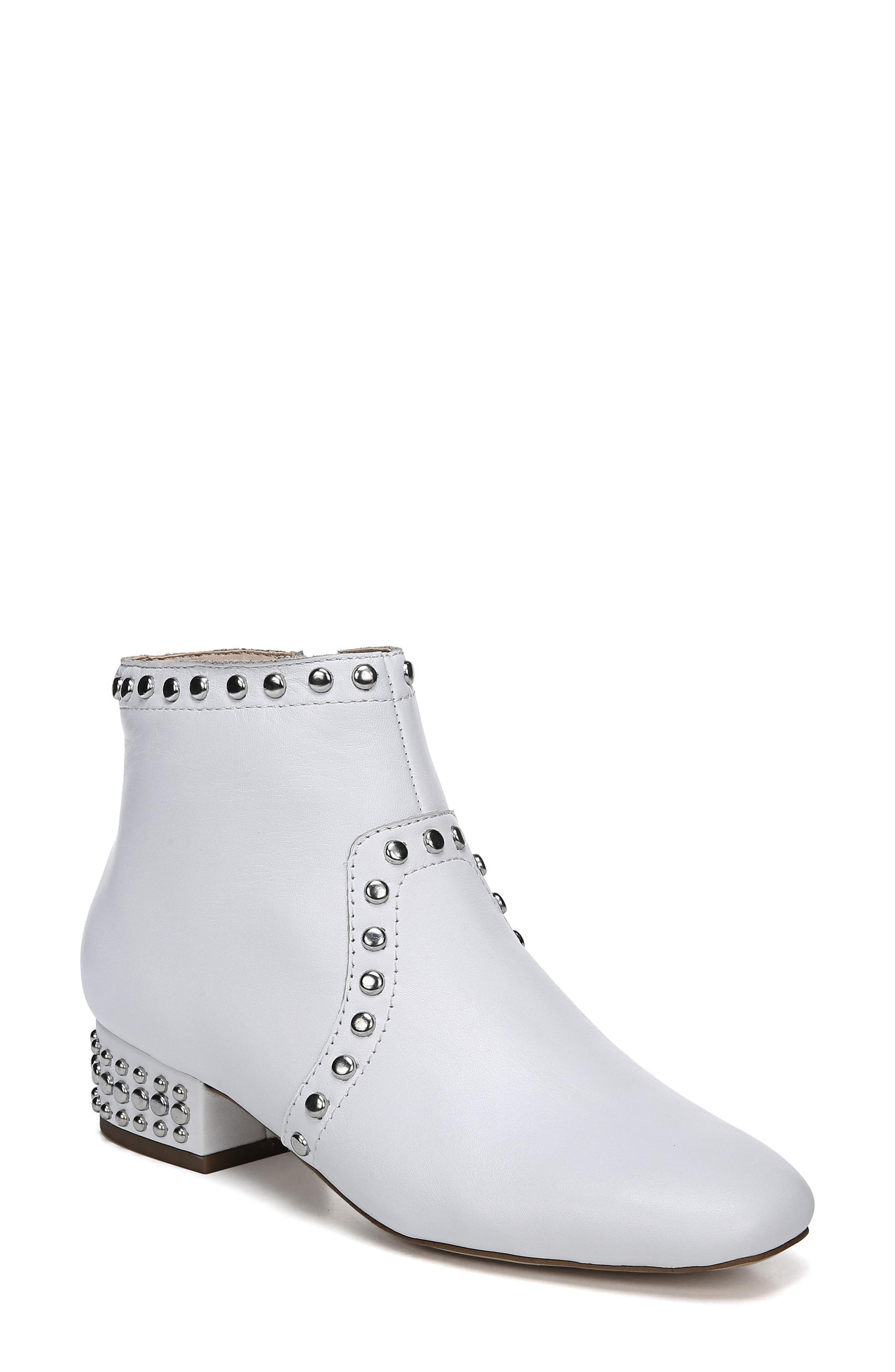Lorin Studded Bootie,                             Main thumbnail 1, color,                             WHITE LEATHER