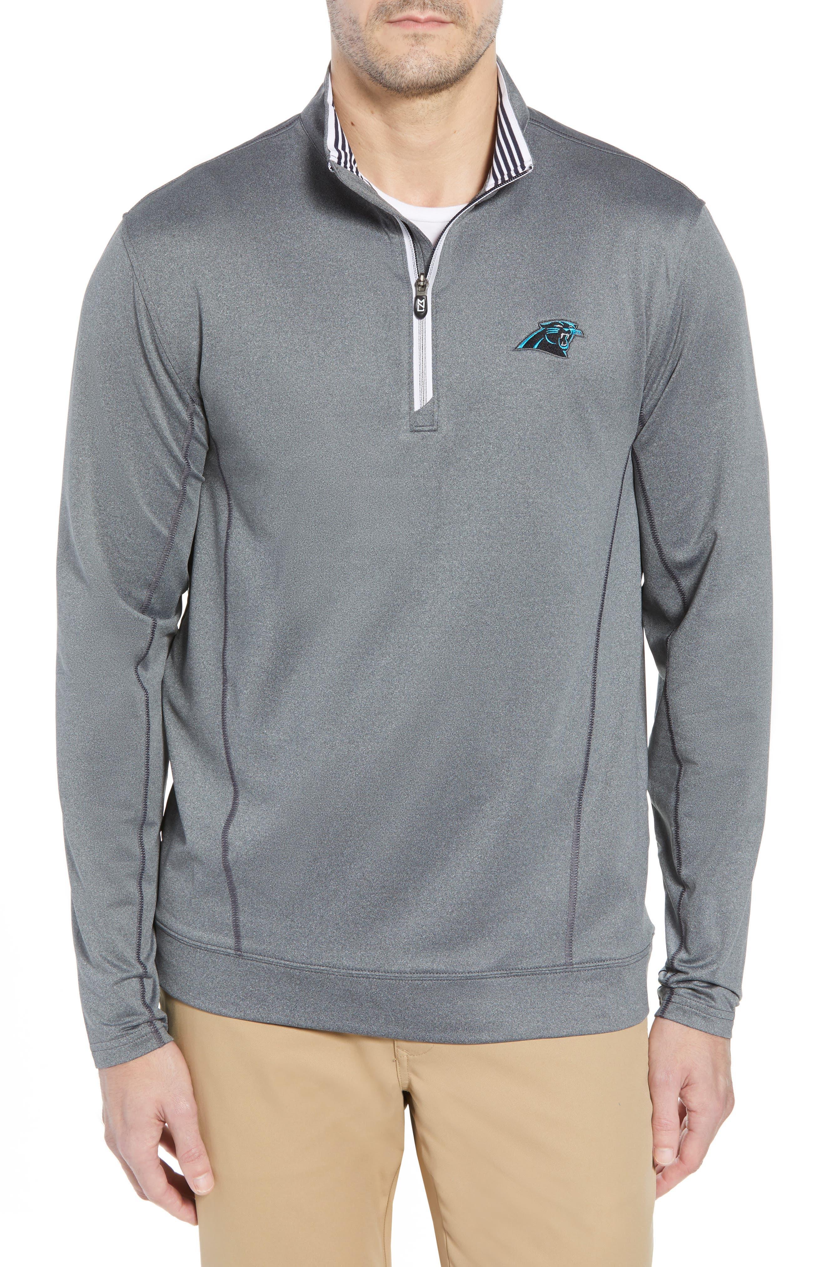 Endurance Carolina Panthers Regular Fit Pullover,                         Main,                         color, CHARCOAL HEATHER