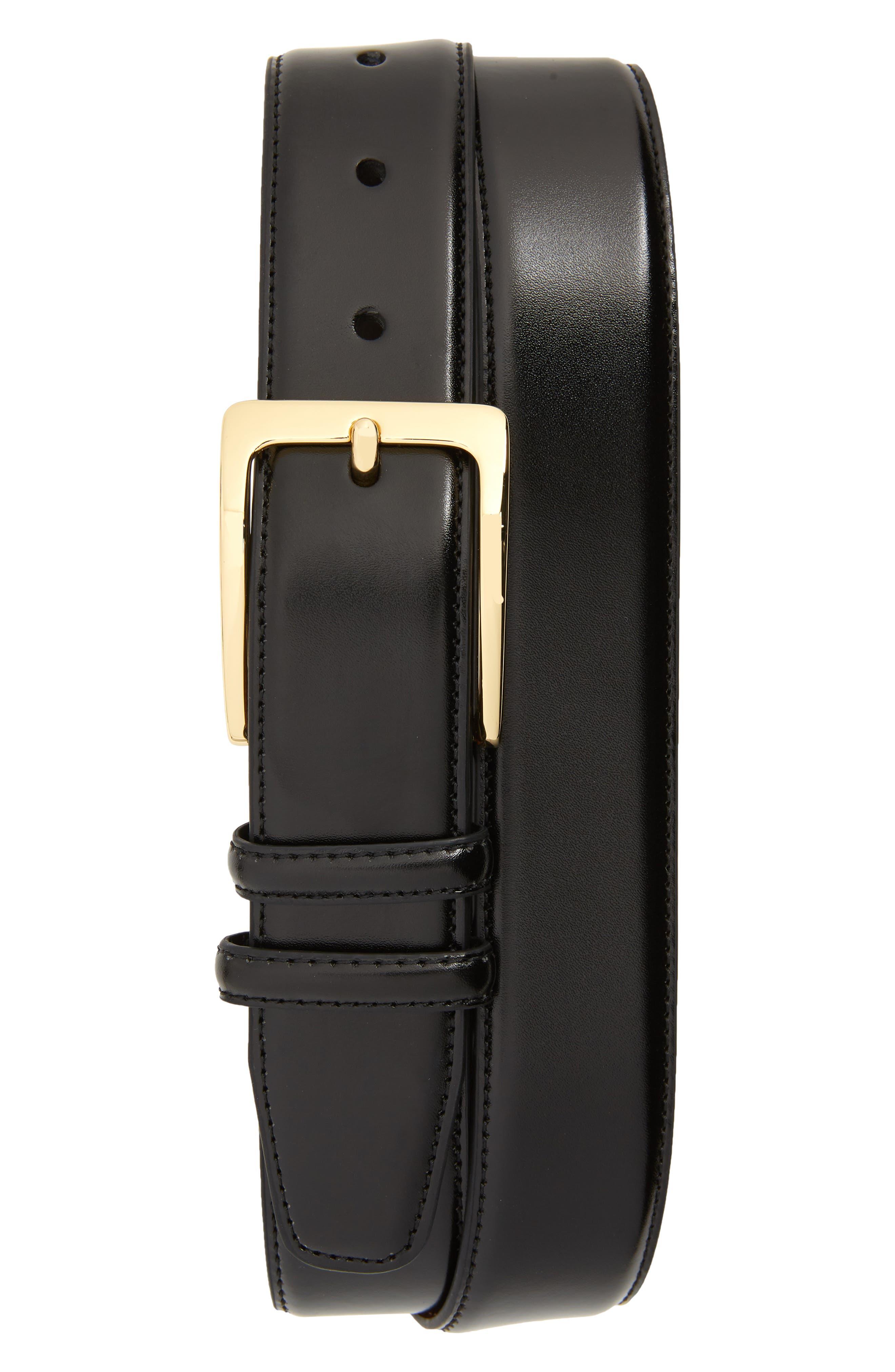 Basic Smooth Leather Belt, Main, color, BLACK
