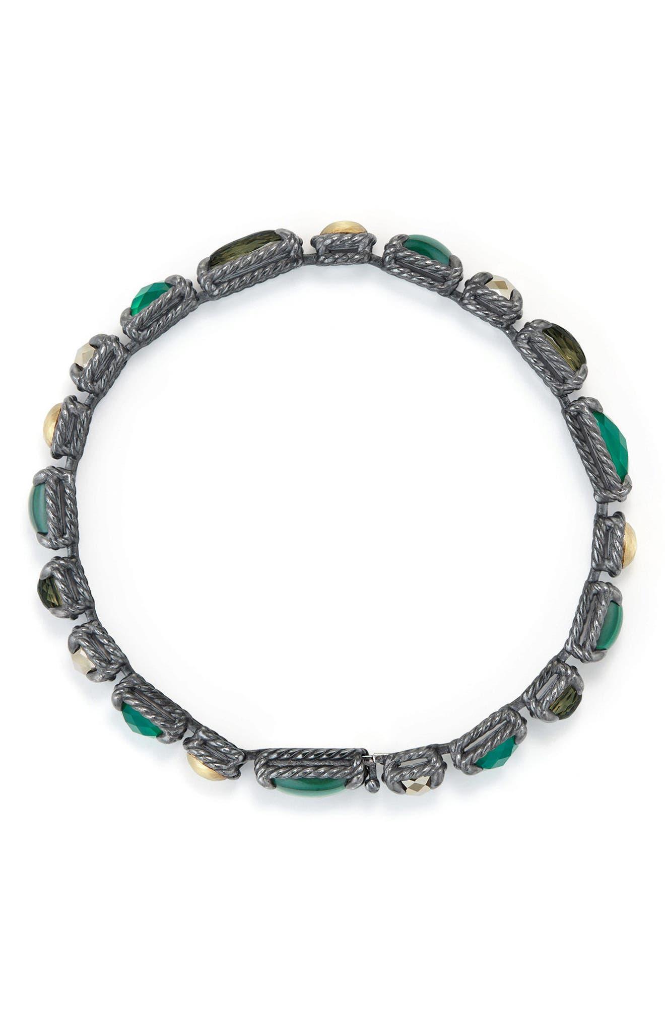 Châtelaine Mosaic Tennis Bracelet with 18K Gold,                             Alternate thumbnail 2, color,                             MALACHITE