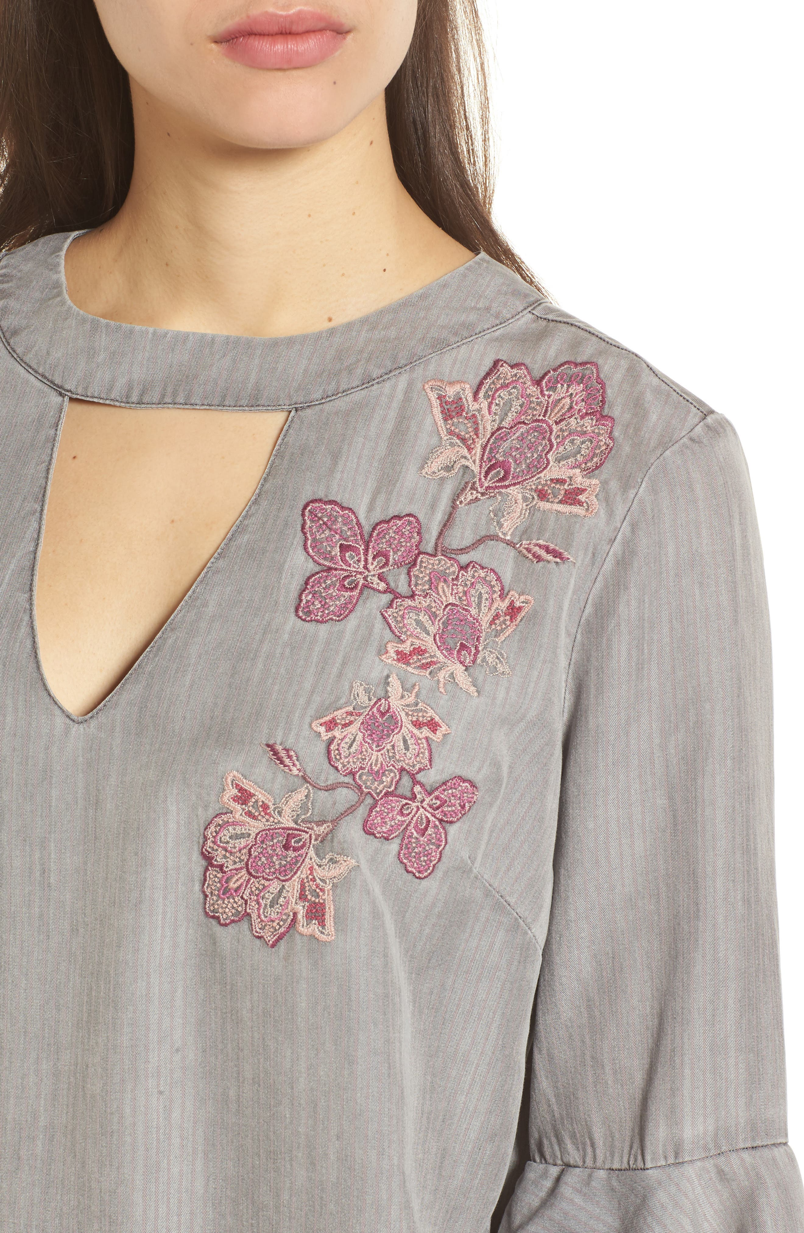 Embroidered Keyhole Top,                             Alternate thumbnail 4, color,                             023