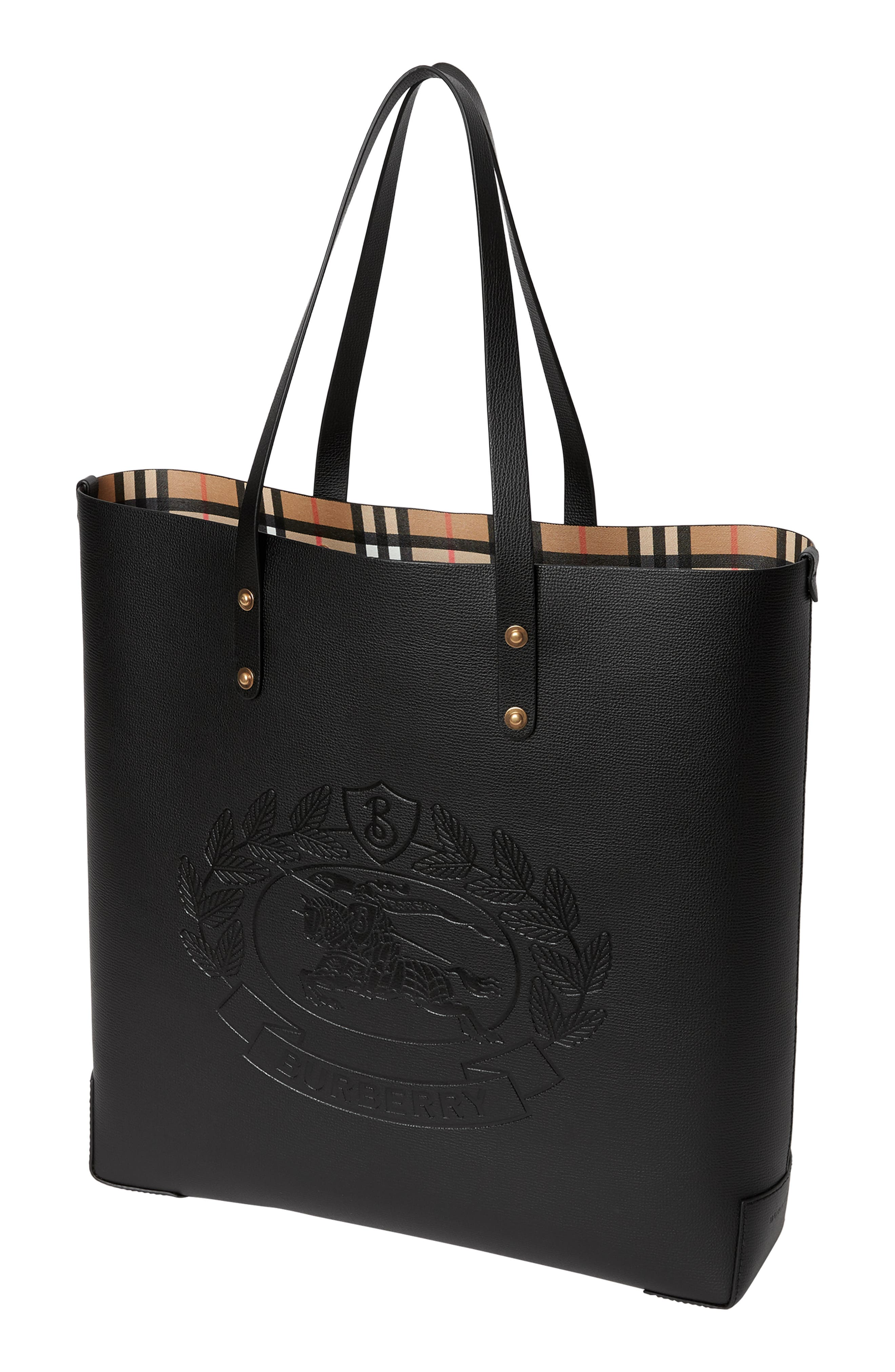 Embossed Crest Large Leather Tote,                             Alternate thumbnail 6, color,                             BLACK