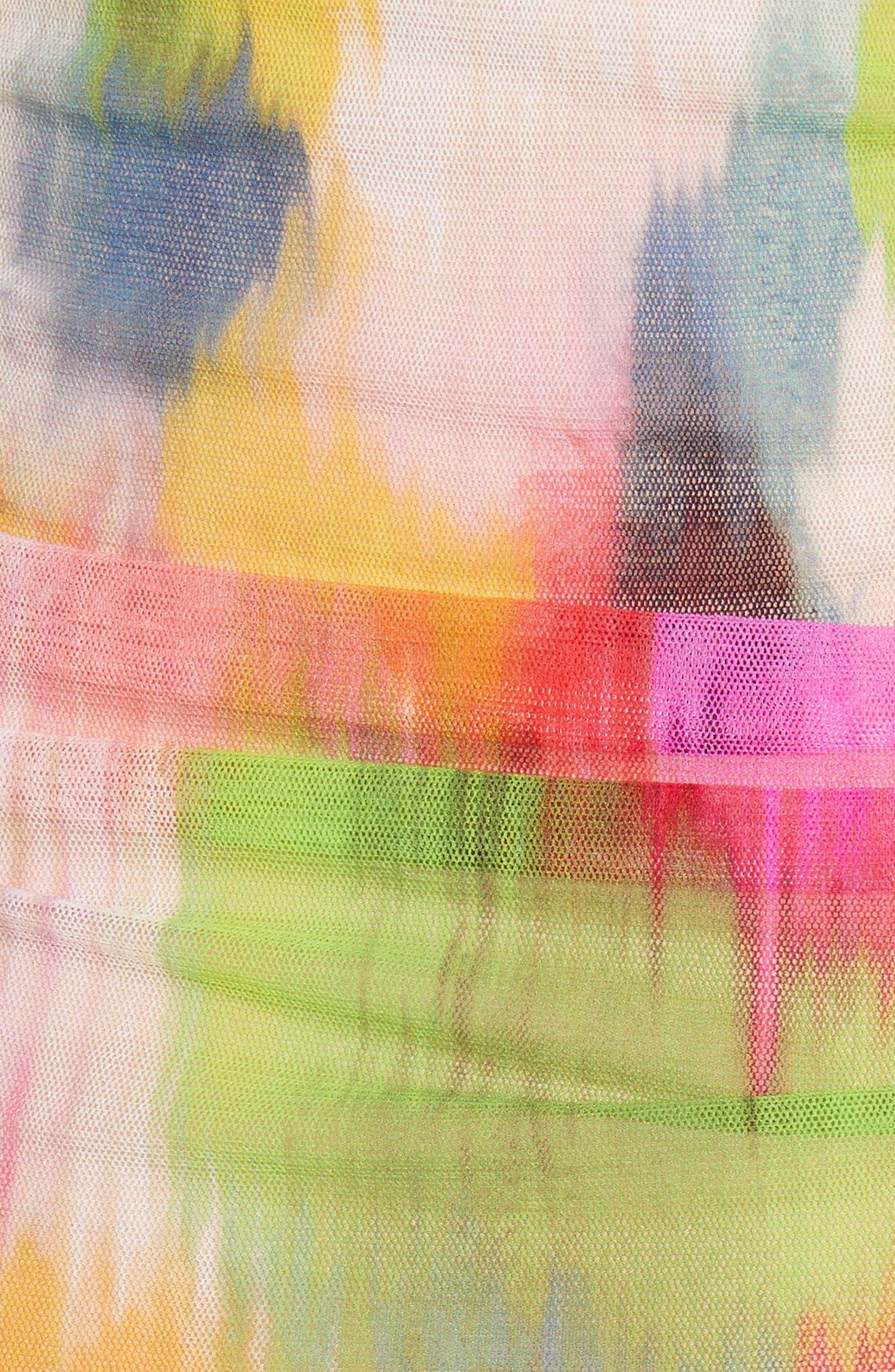 Brushstroke Print Tulle Ruched Dress,                             Alternate thumbnail 5, color,                             640