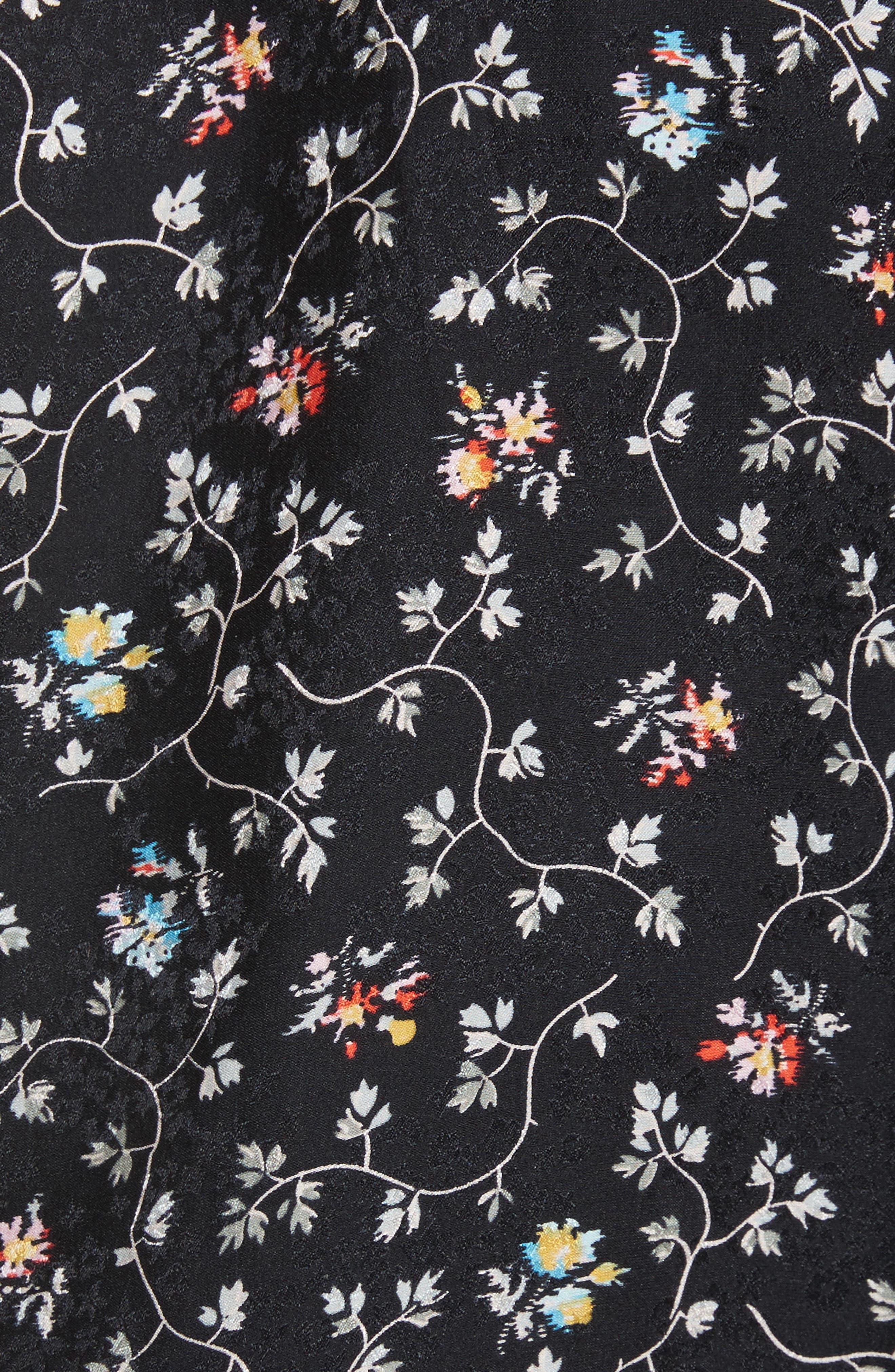 Floral Print Ruffle Silk Top,                             Alternate thumbnail 5, color,                             001