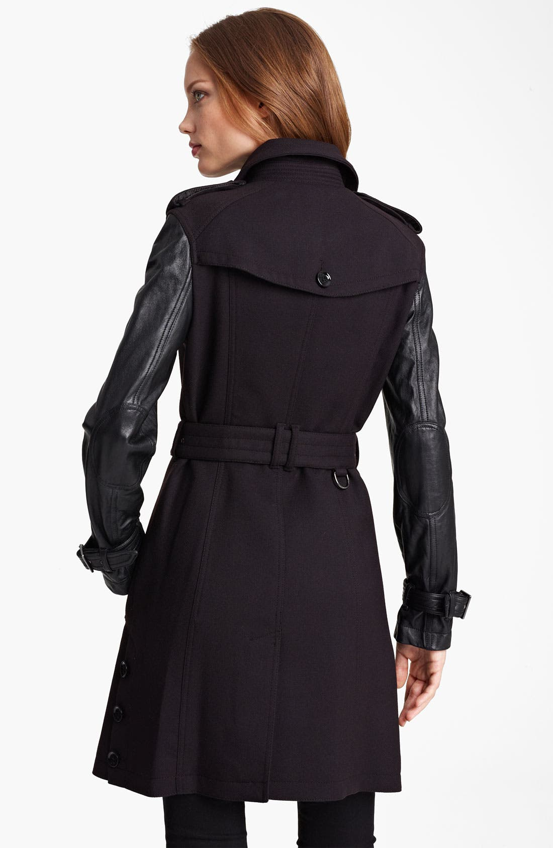 'Yarrowfield' Lambskin Sleeve Trench,                             Alternate thumbnail 3, color,                             001
