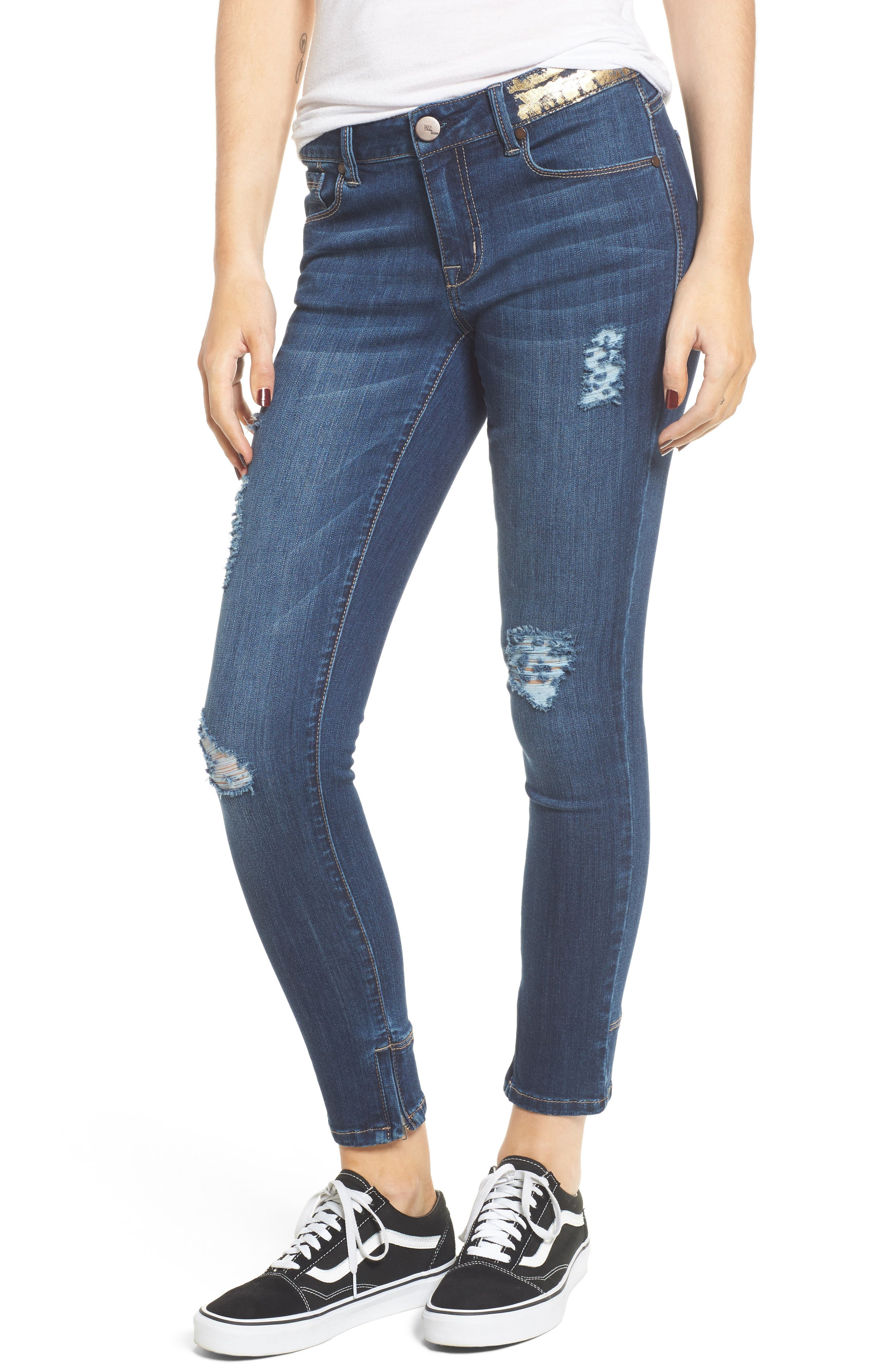 Gold Waist Ankle Zip Skinny Jeans,                             Main thumbnail 1, color,                             403