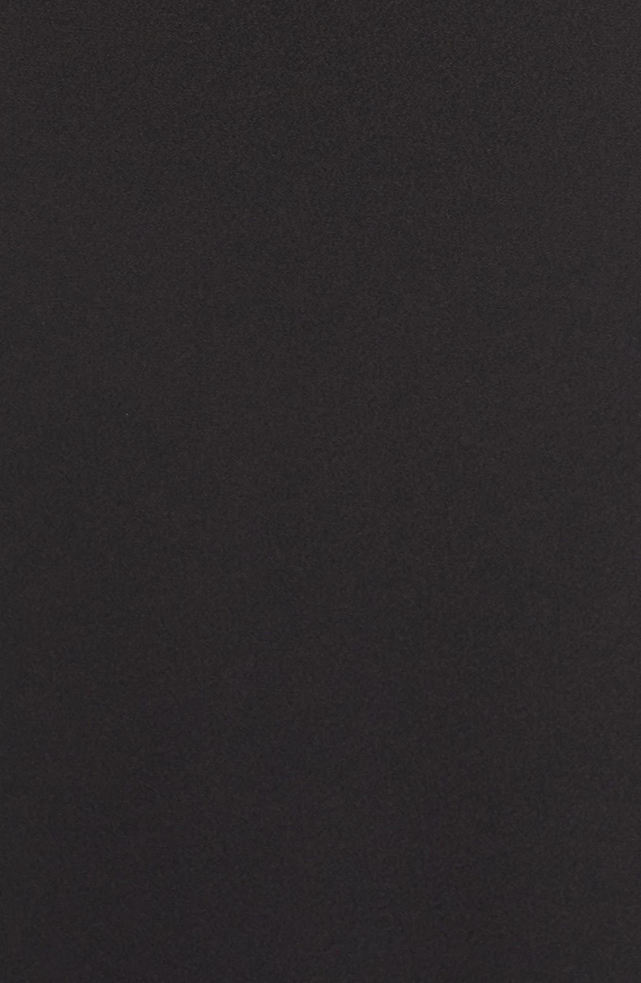 Lace & Crepe Trumpet Gown,                             Alternate thumbnail 5, color,                             BLACK