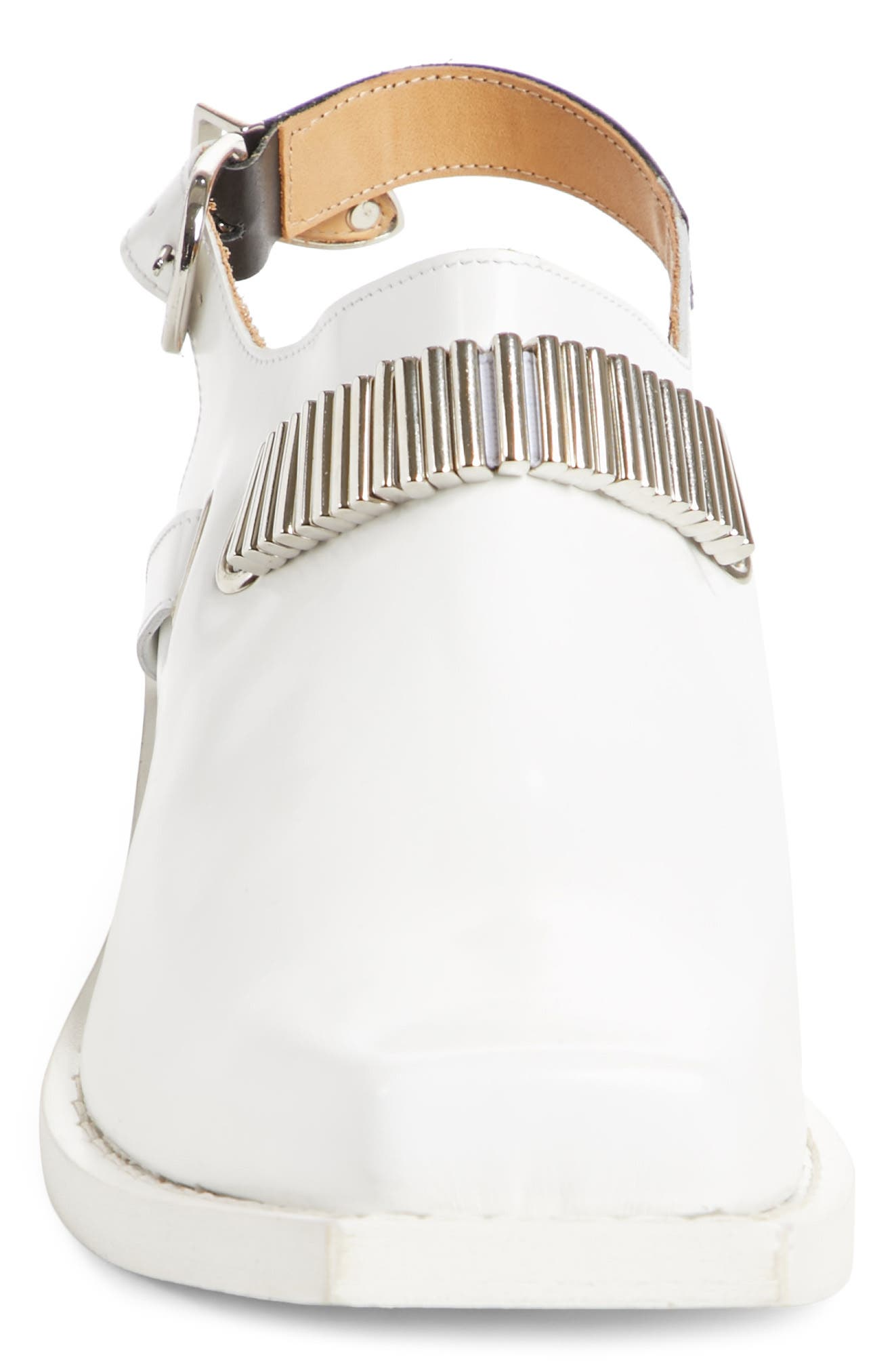 Embellished Slingback Shoe,                             Alternate thumbnail 4, color,                             WHITE POLIDO